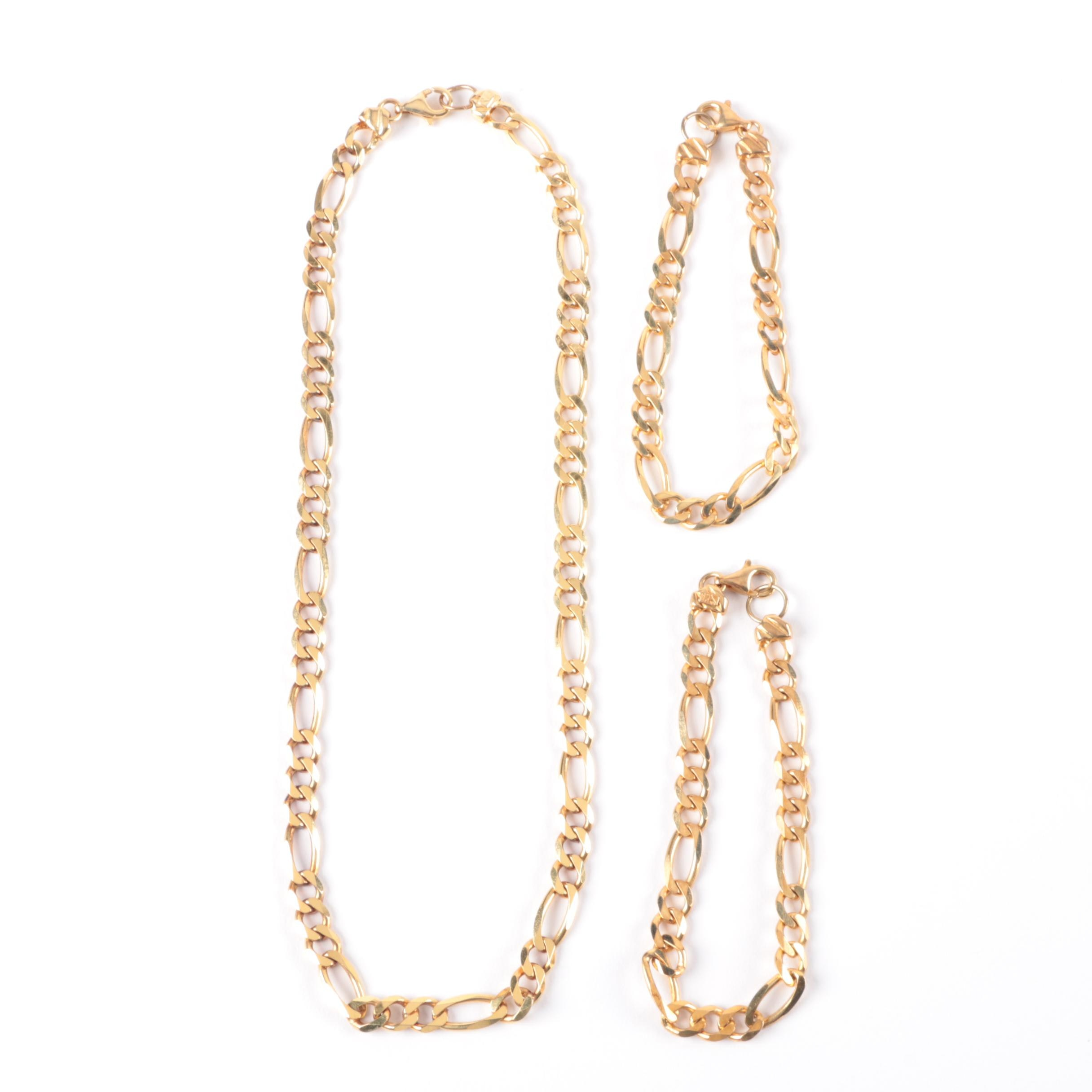 Gold Wash on Sterling Silver Figaro Chain Necklace and Bracelet