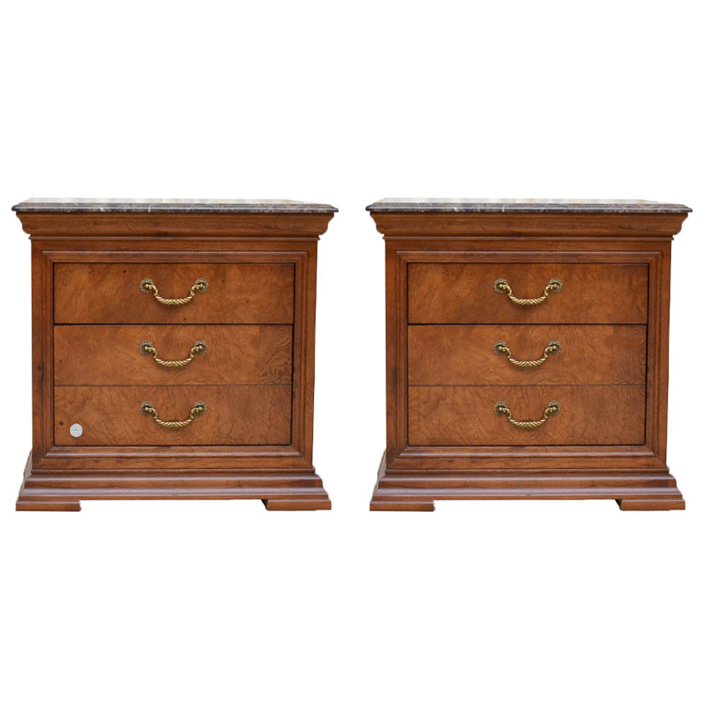 Pair of Marble Top Bedside Tables by Thomasville