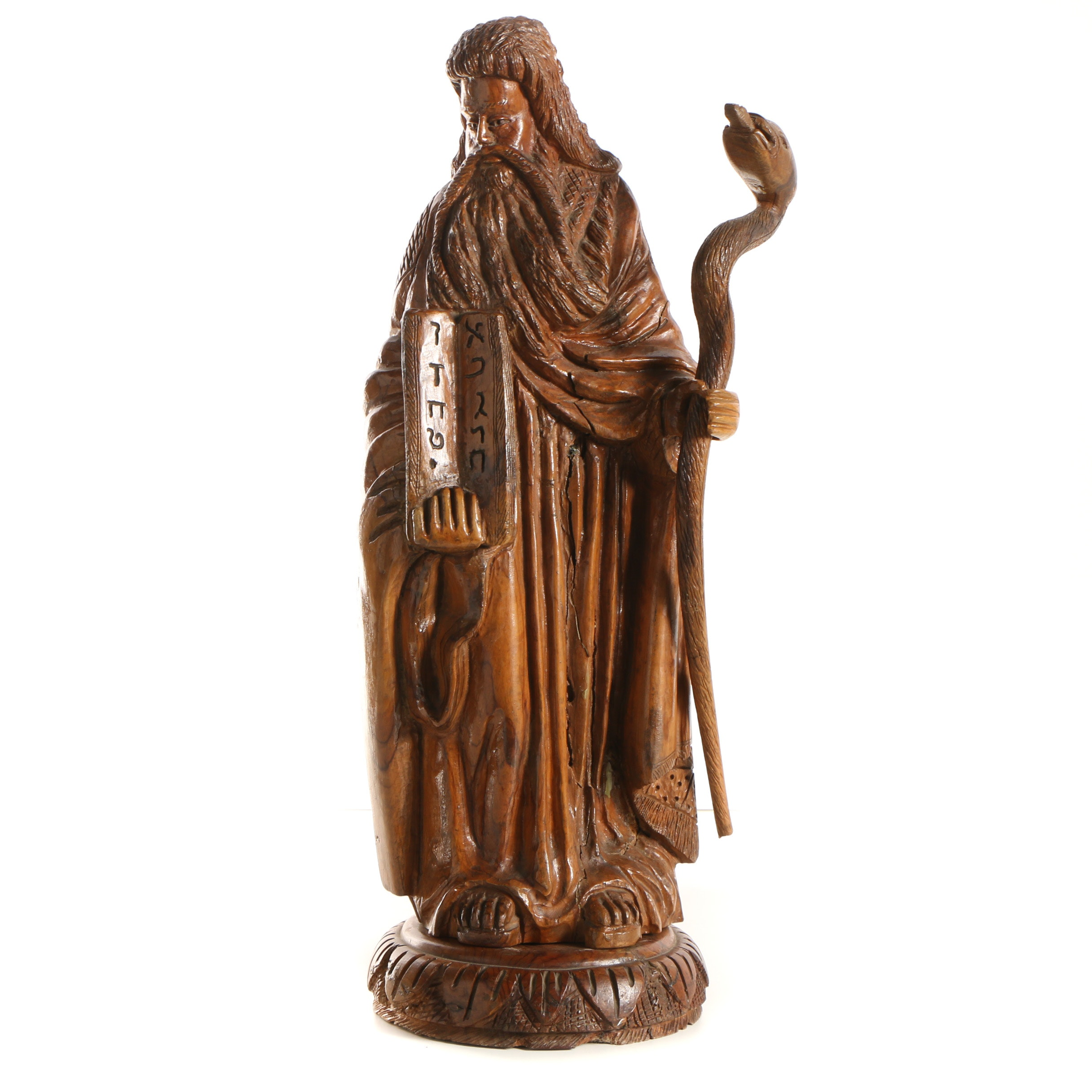 Hand Carved Wooden Sculpture of Moses