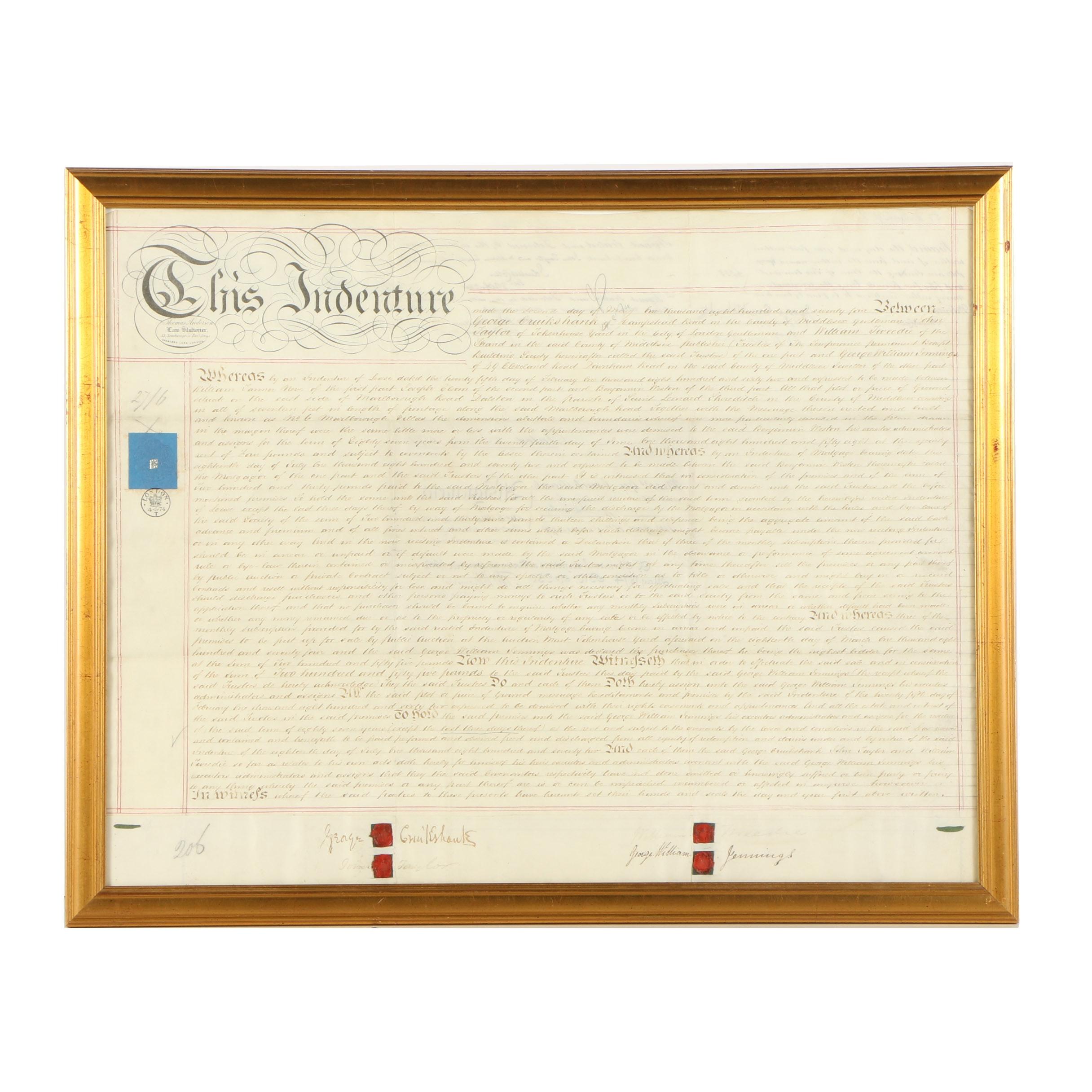 Framed 19th Century Mortgage Indenture