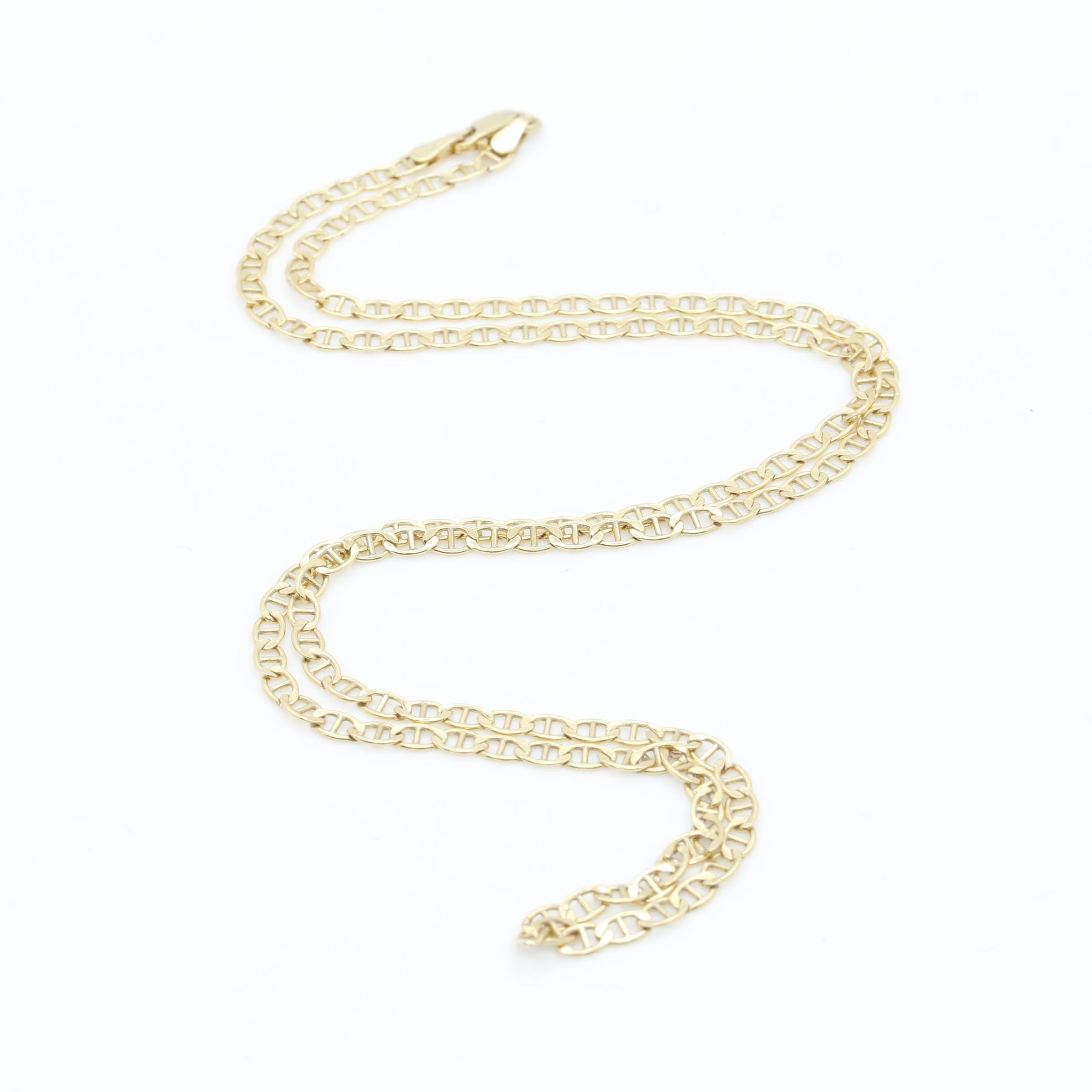 10K Yellow Gold Anchor Link Necklace