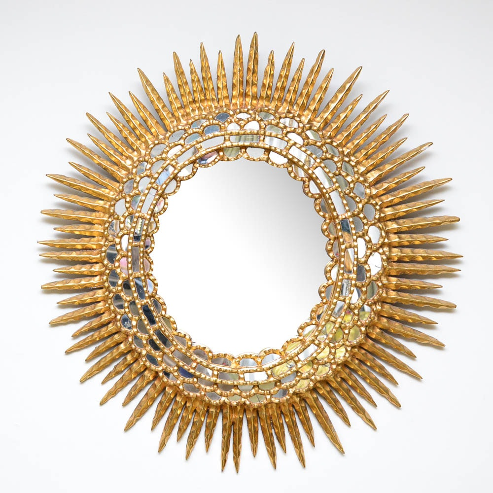 Vintage Gold Gild Round Wall Mirror
