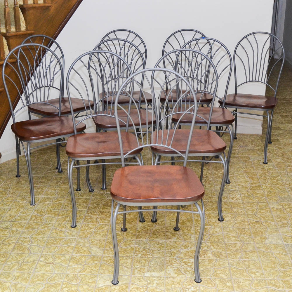 Metalwork Side Chairs with Contoured Wooden Seats