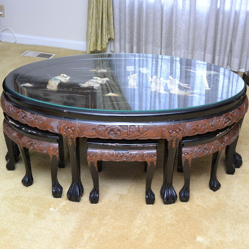Chinese Oval Coffee Table with Six Stools