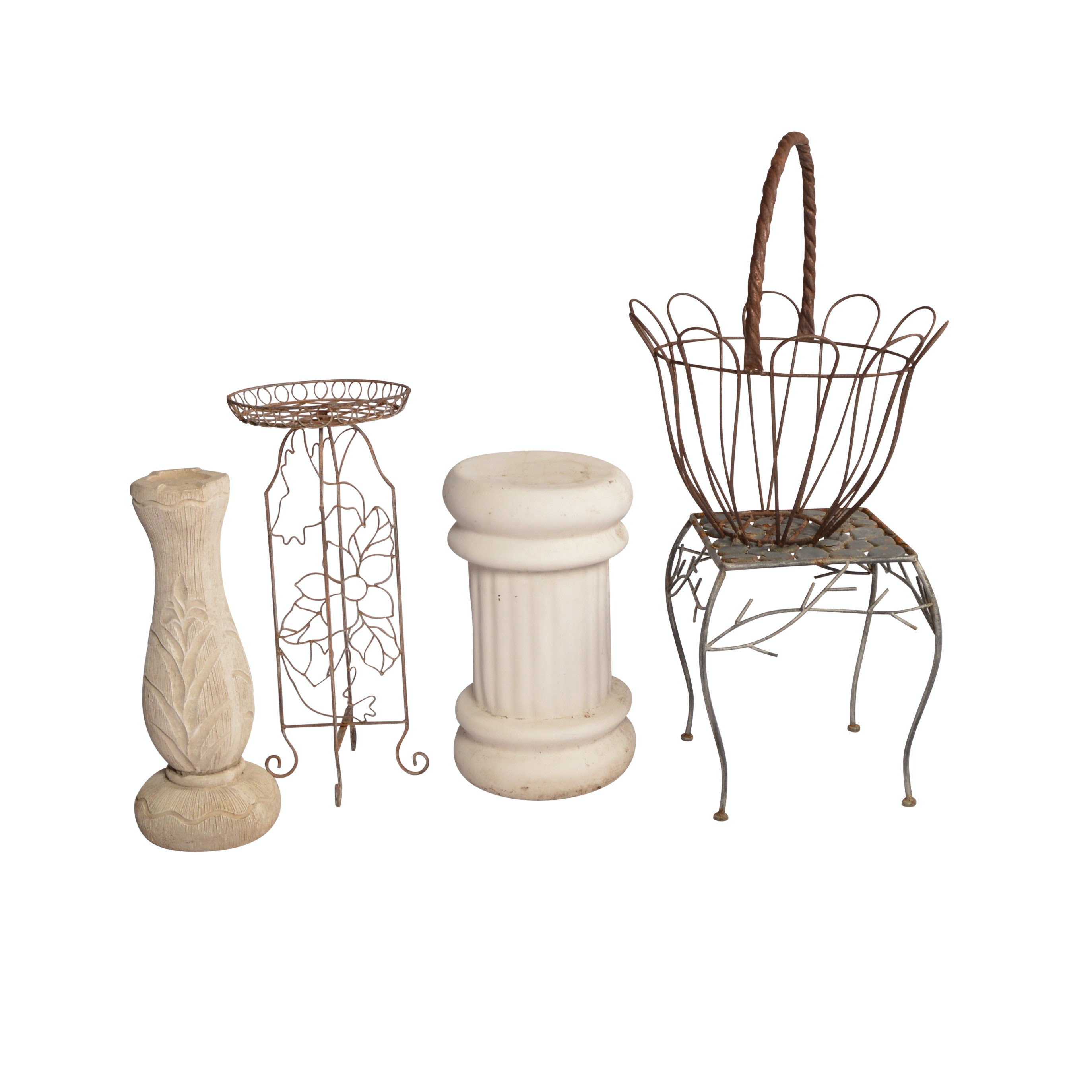 Collection of Outdoor Decor Including Baskets, Tables, Stands and More