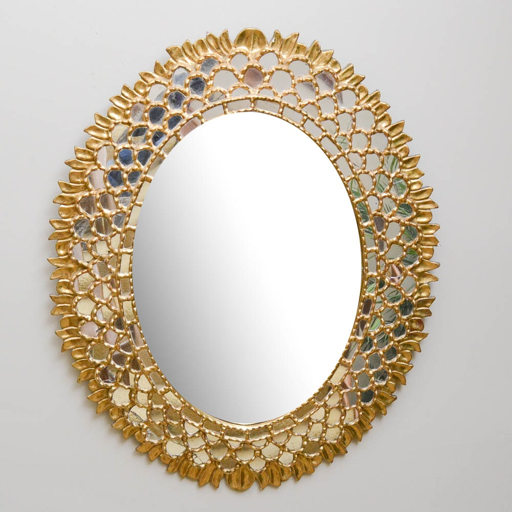 Vintage Gold Gild Oval Wall Mirror