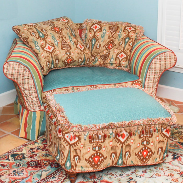 Oversized Armchair and Ottoman with Southwest Style Covers