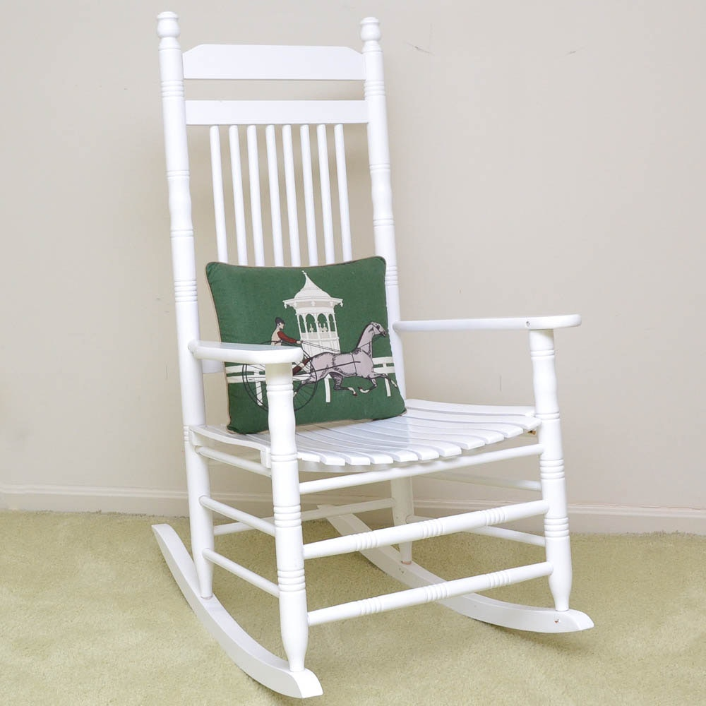 White Painted Rocking Chair with Accent Pillow