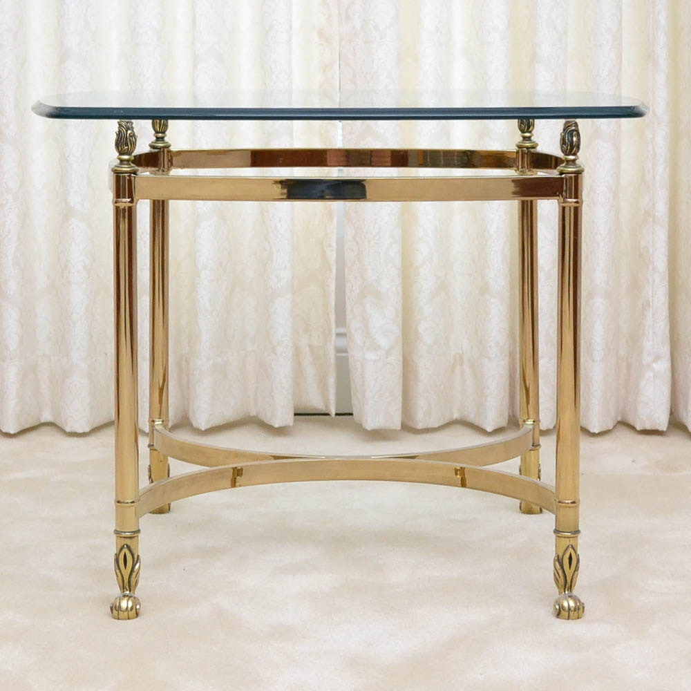 Vintage Glass and Brass Side Table
