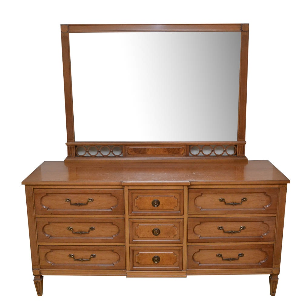 Mid-Century Triple Dresser with Mirror