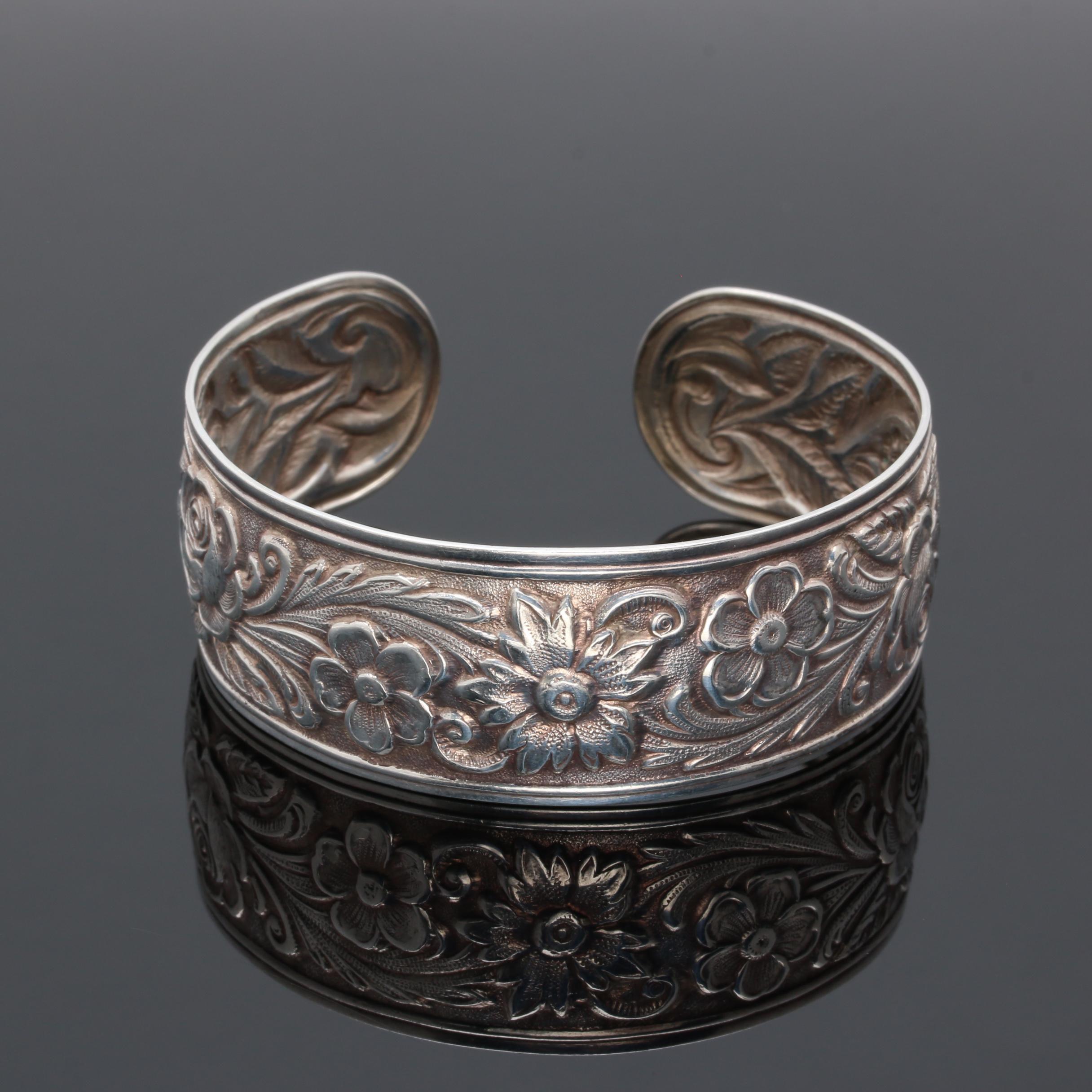 Kirk & Son Sterling Silver Floral Design Cuff Bracelet