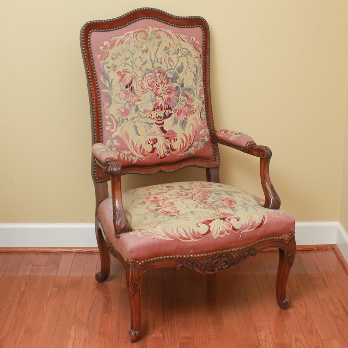 French Régence Style Armchair with Aubusson Tapestry