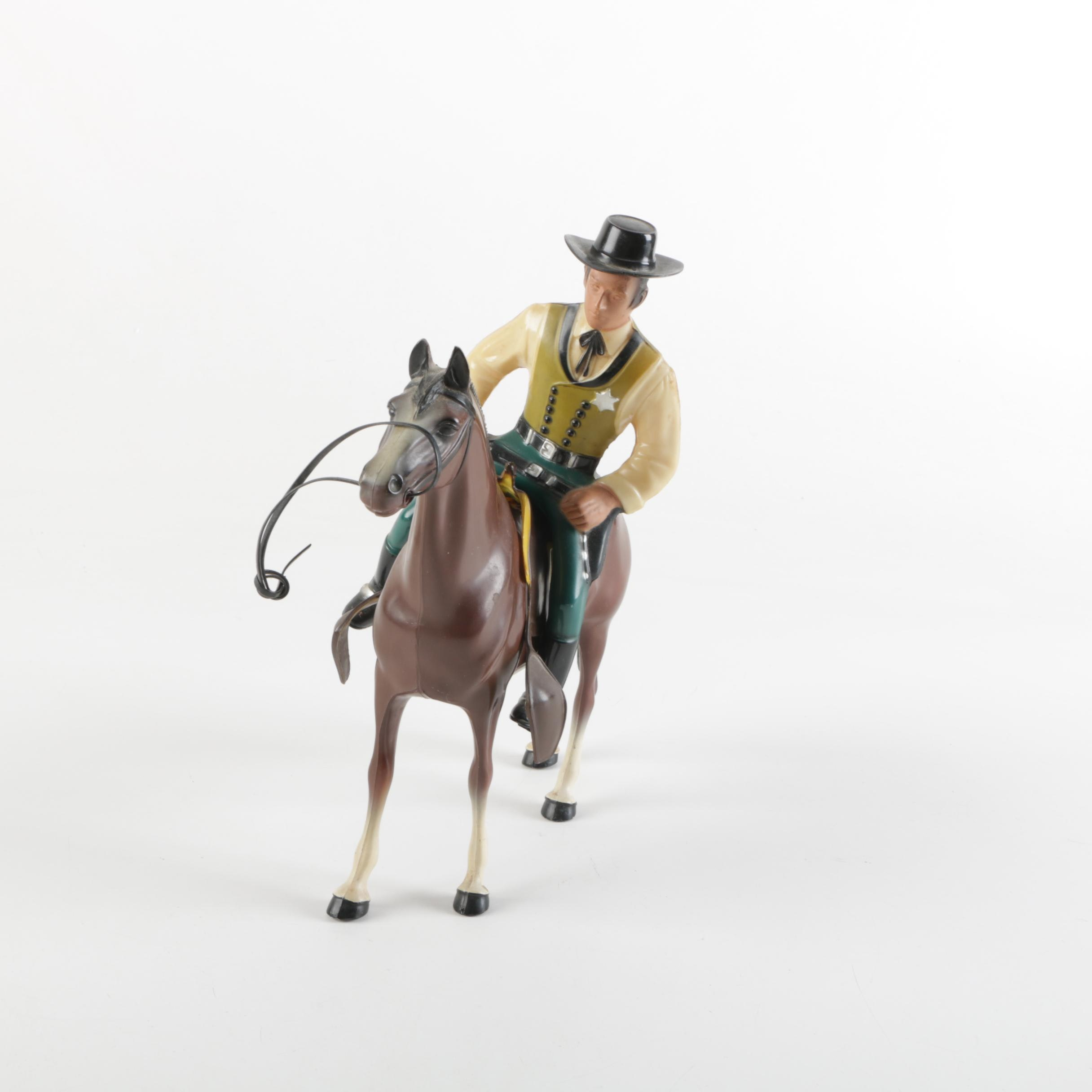 "Vintage Hartland Plastics ""Wyatt Earp"" Action Figure with Horse"