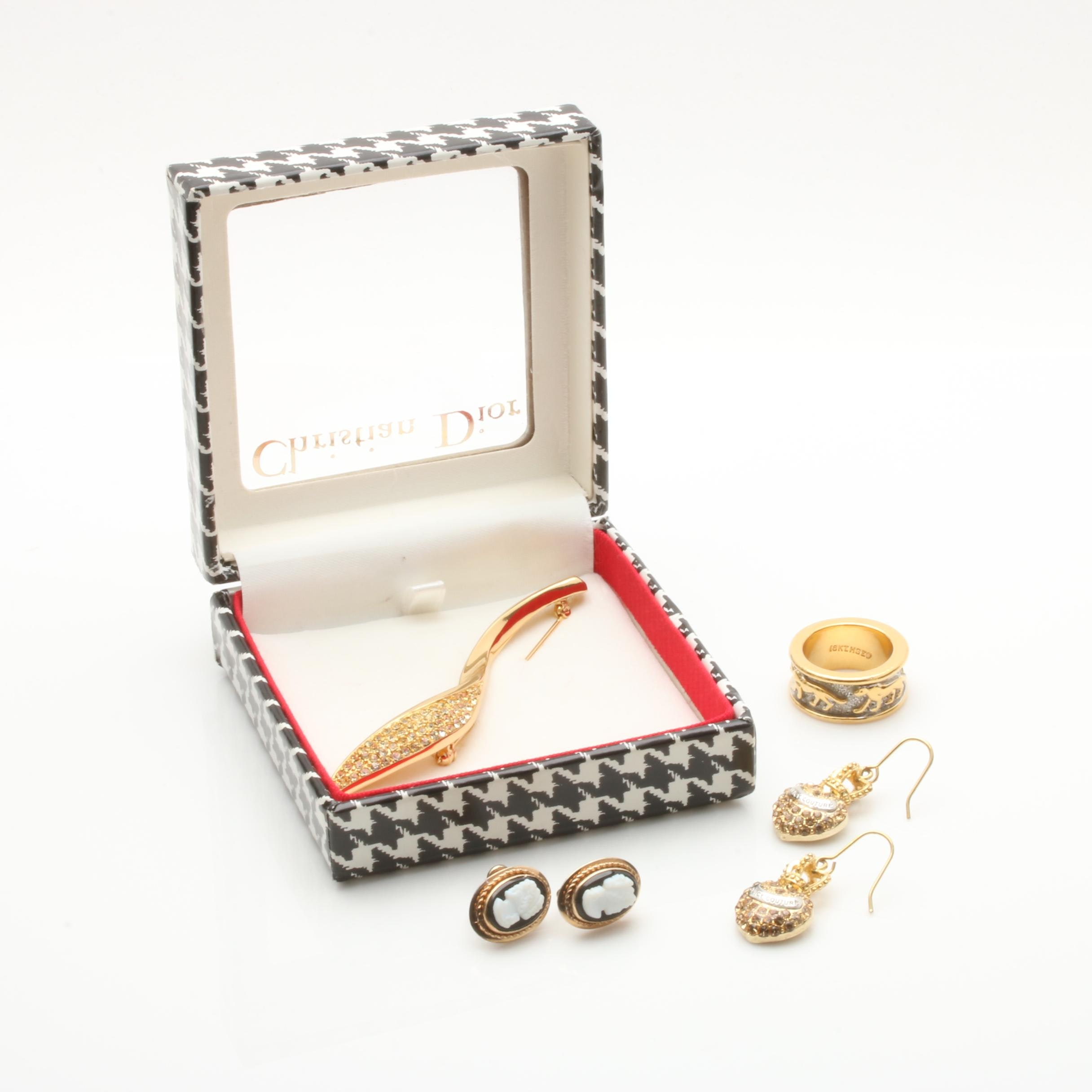 Gold Tone and Gold Filled Jewelry Including Christian Dior and Juicy Couture