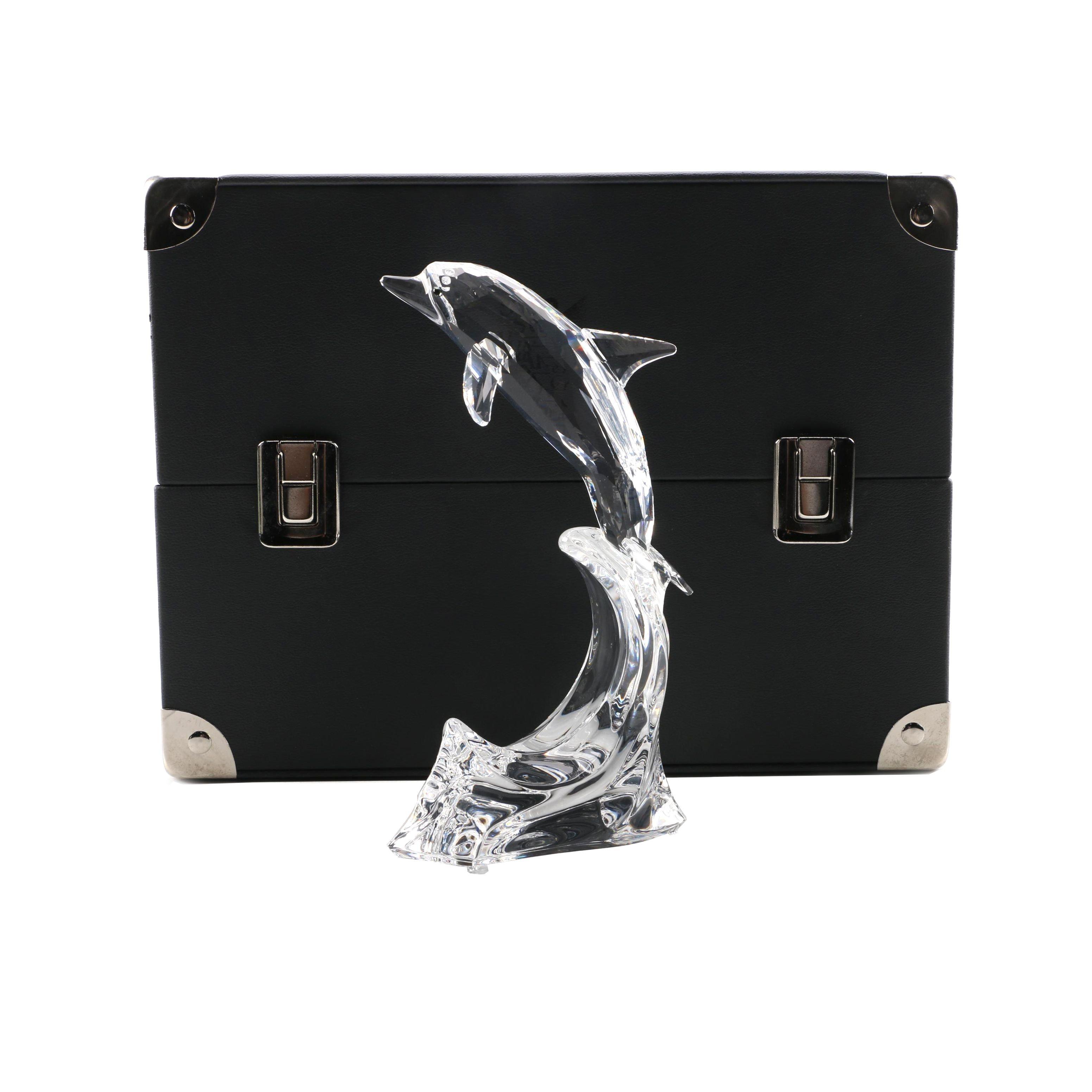 "1998 Swarovski Silver Crystal ""Maxi Dolphin"" Figurine with Case"