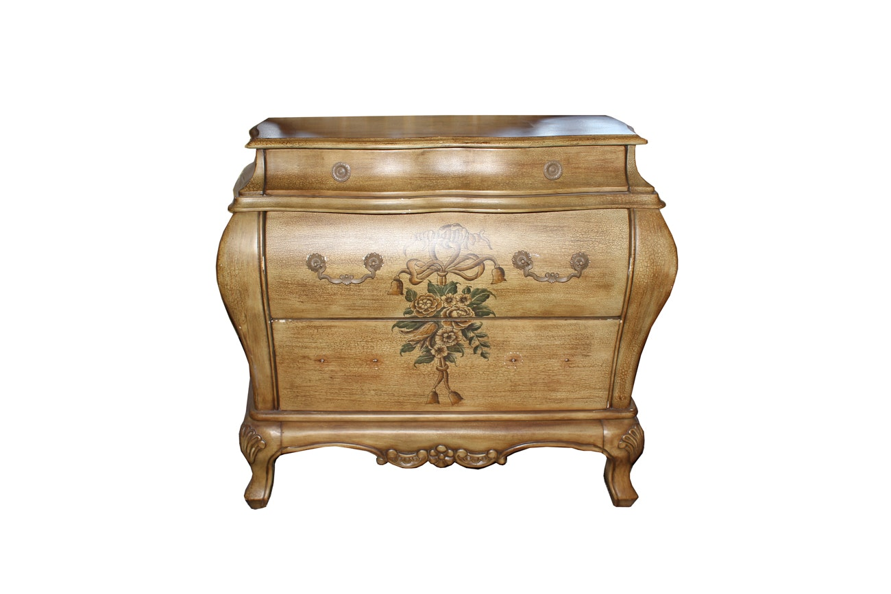 French Provincial-Style Bombe Chest with Painted Florals
