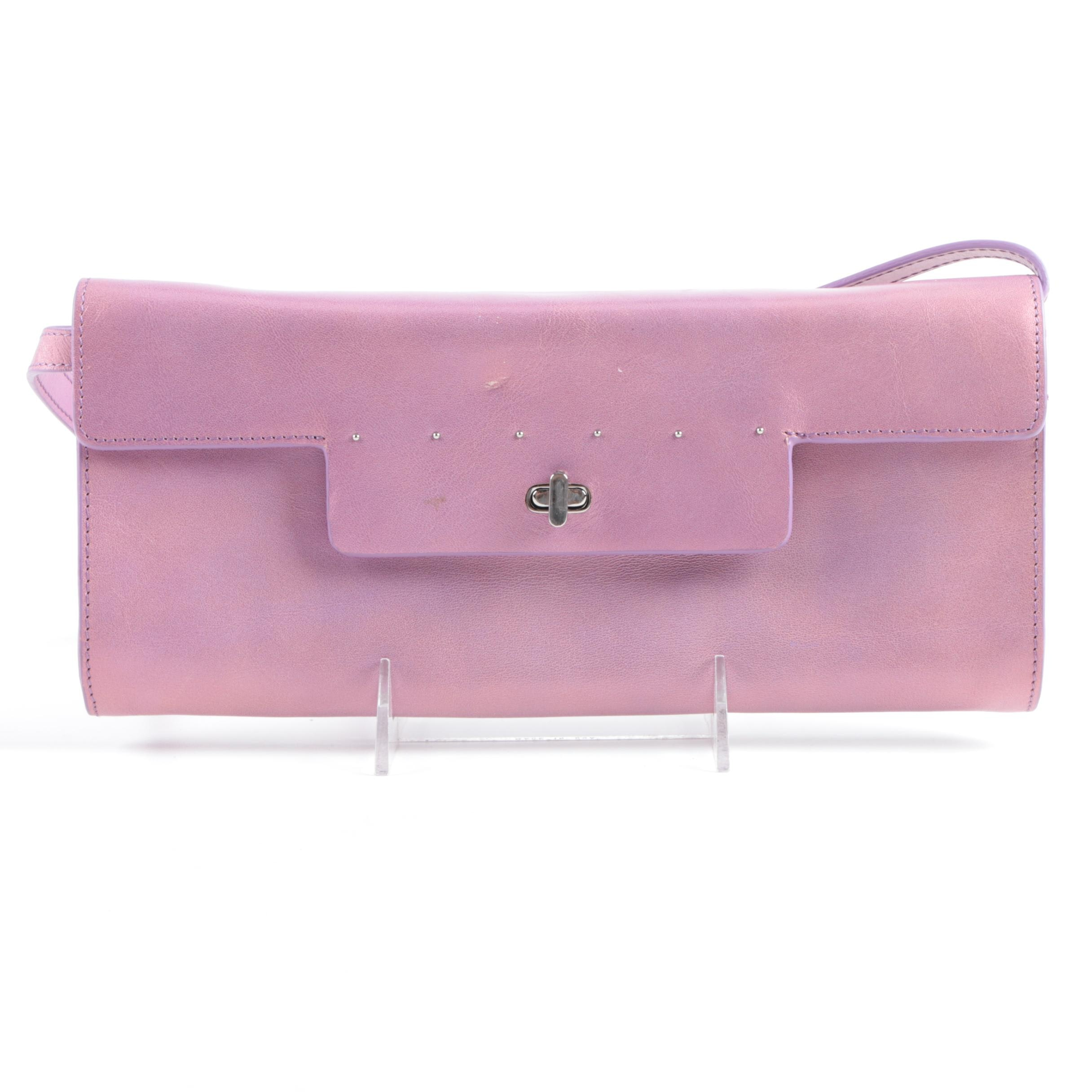 Monsac Purple Leather Baguette