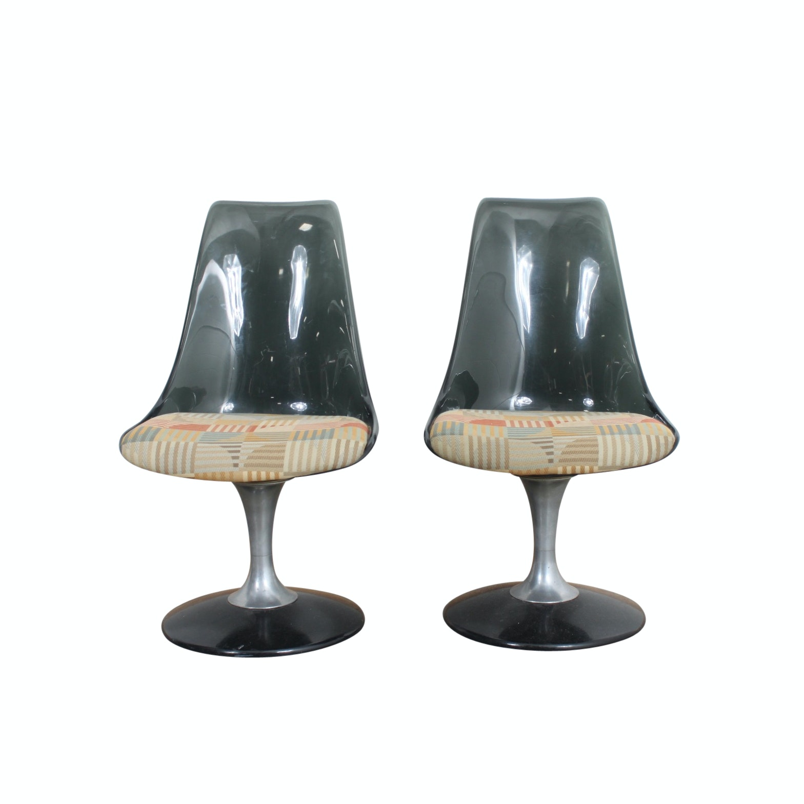 Mid Century Modern Chromcraft Black Acrylic Tulip Chairs