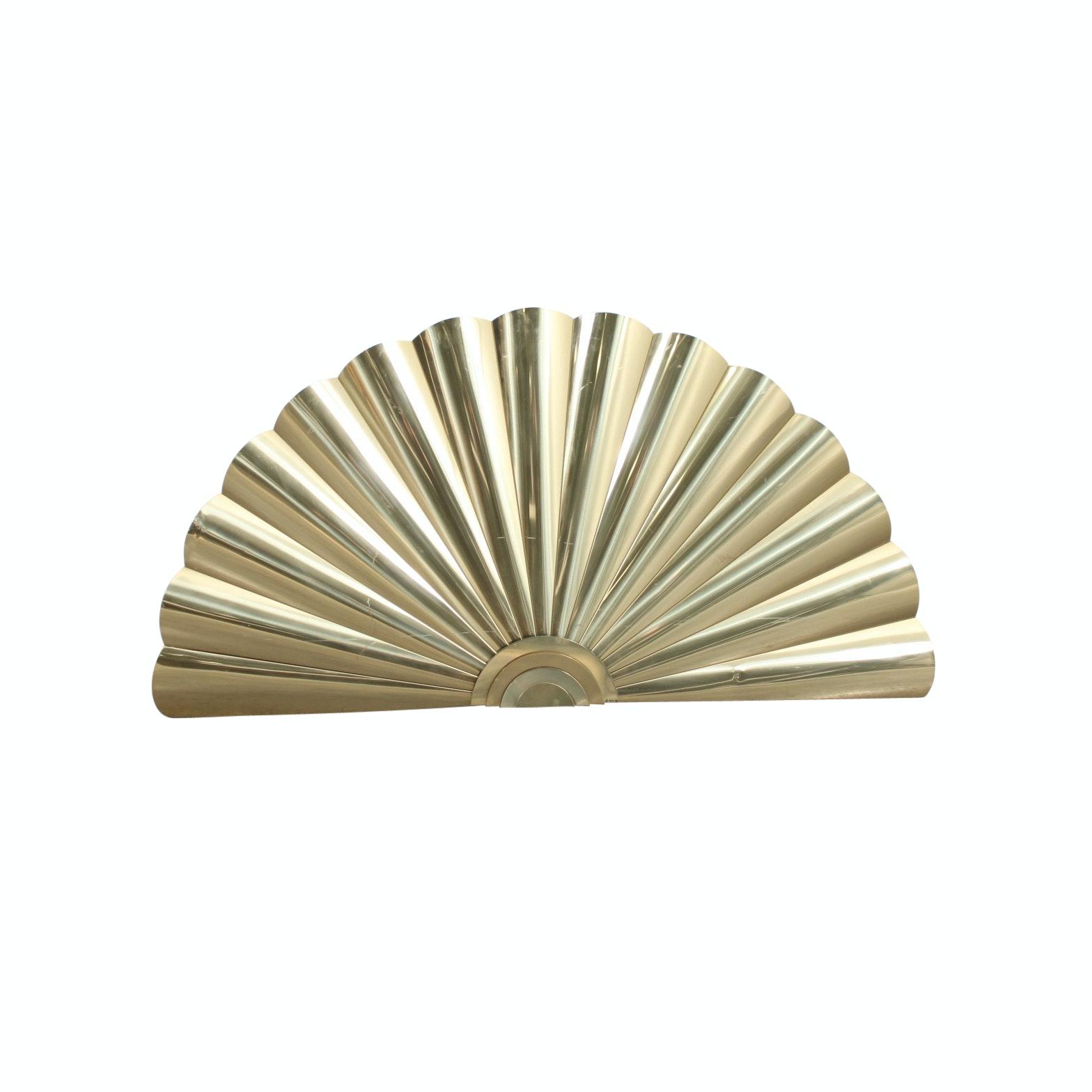 Curtis Jeré Signed 1989 Brass Wall Sculpture of Folding Hand Fan