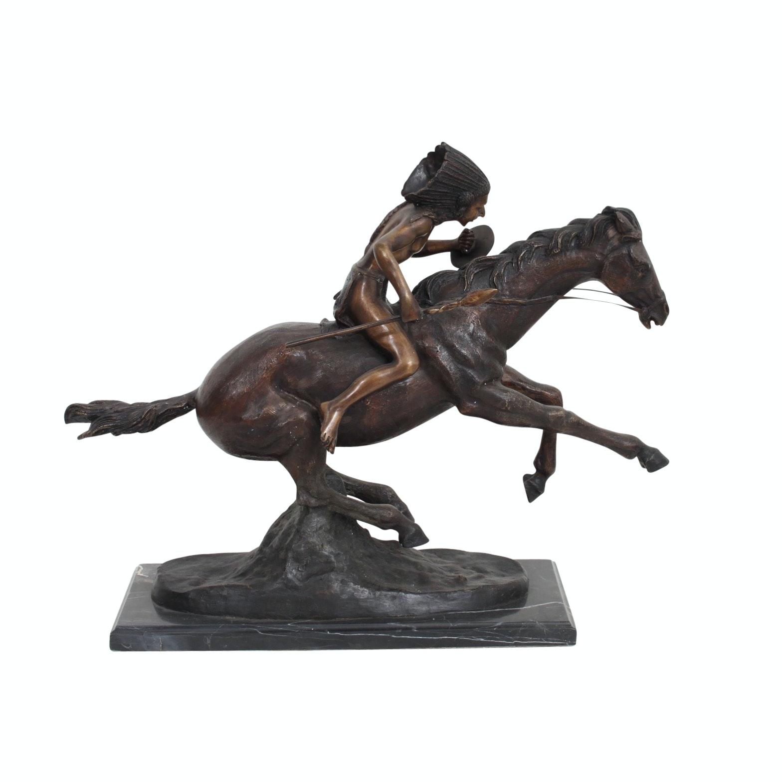 "Bronze Sculpture After Frederic Remington ""Warrior"""