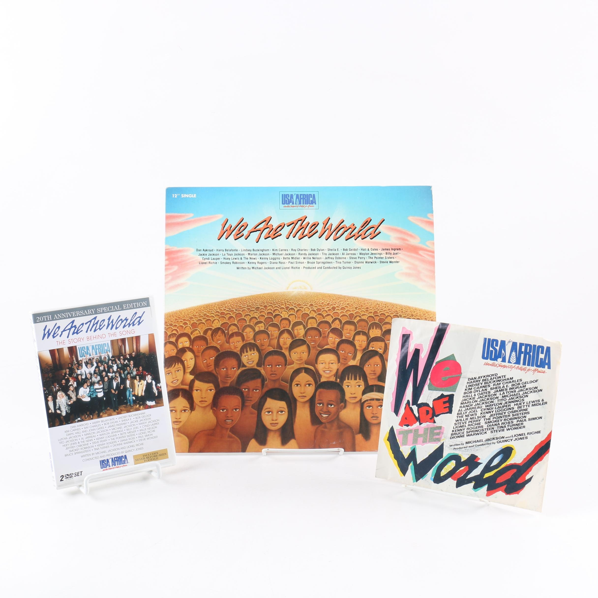 "USA For Africa ""We Are The World"" 12"" and 7"" Records with 20th Anniversary DVD"