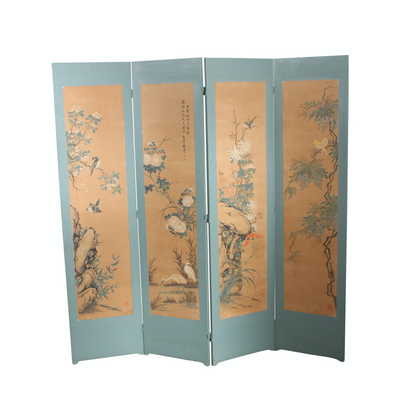 Vintage East Asian Hand-Painted Folding Screen