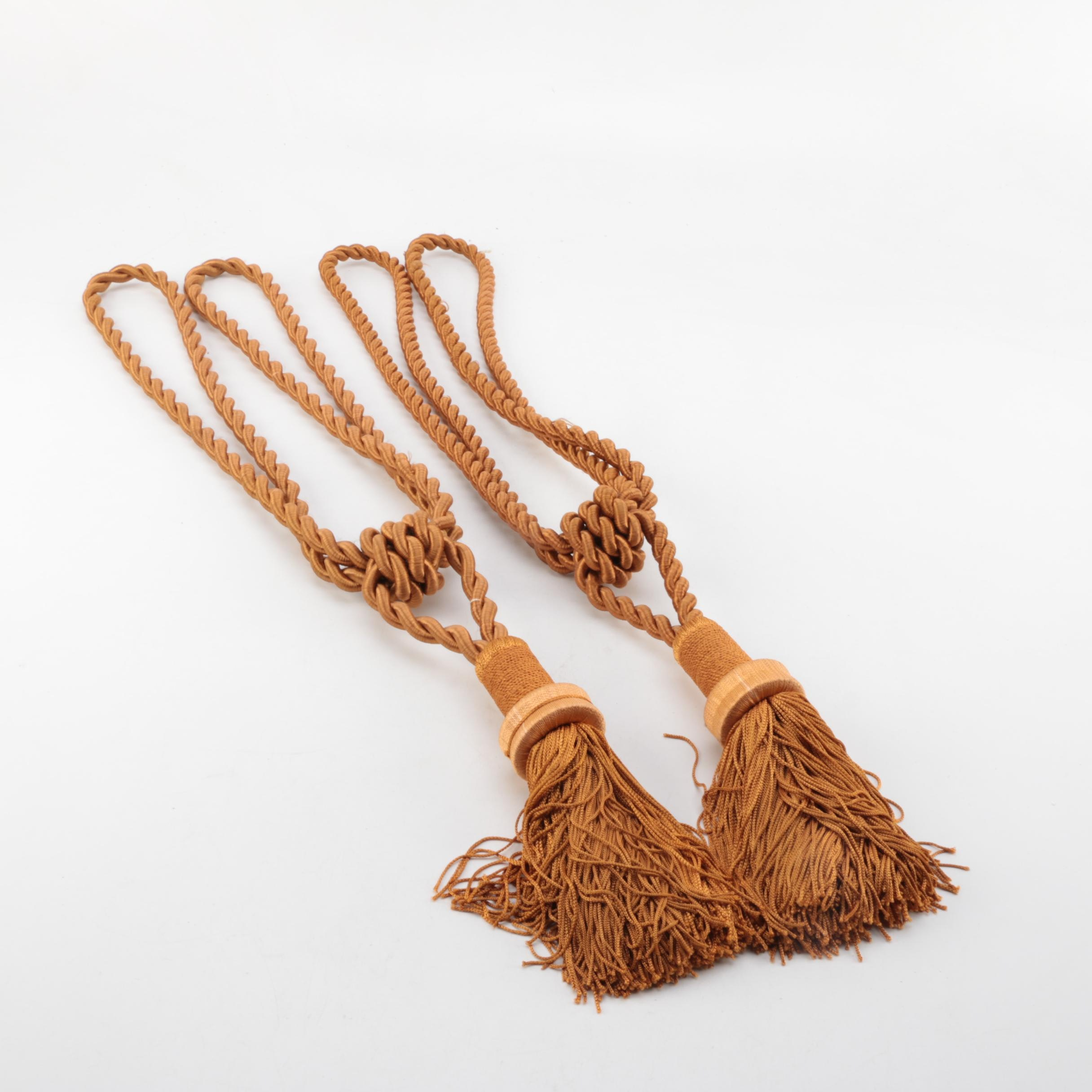 Decorative Orange Braided and Tasseled Curtain Tie-Backs