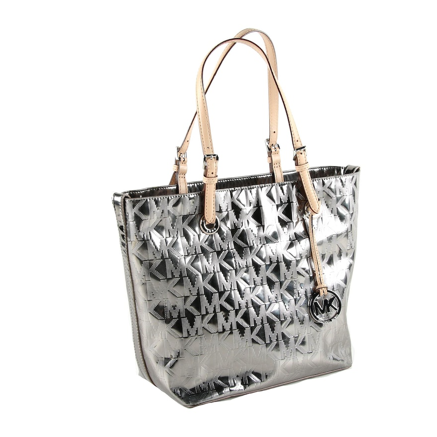 fd1fdca73 Michael by Michael Kors Silver Metallic Patent Leather Tote | EBTH
