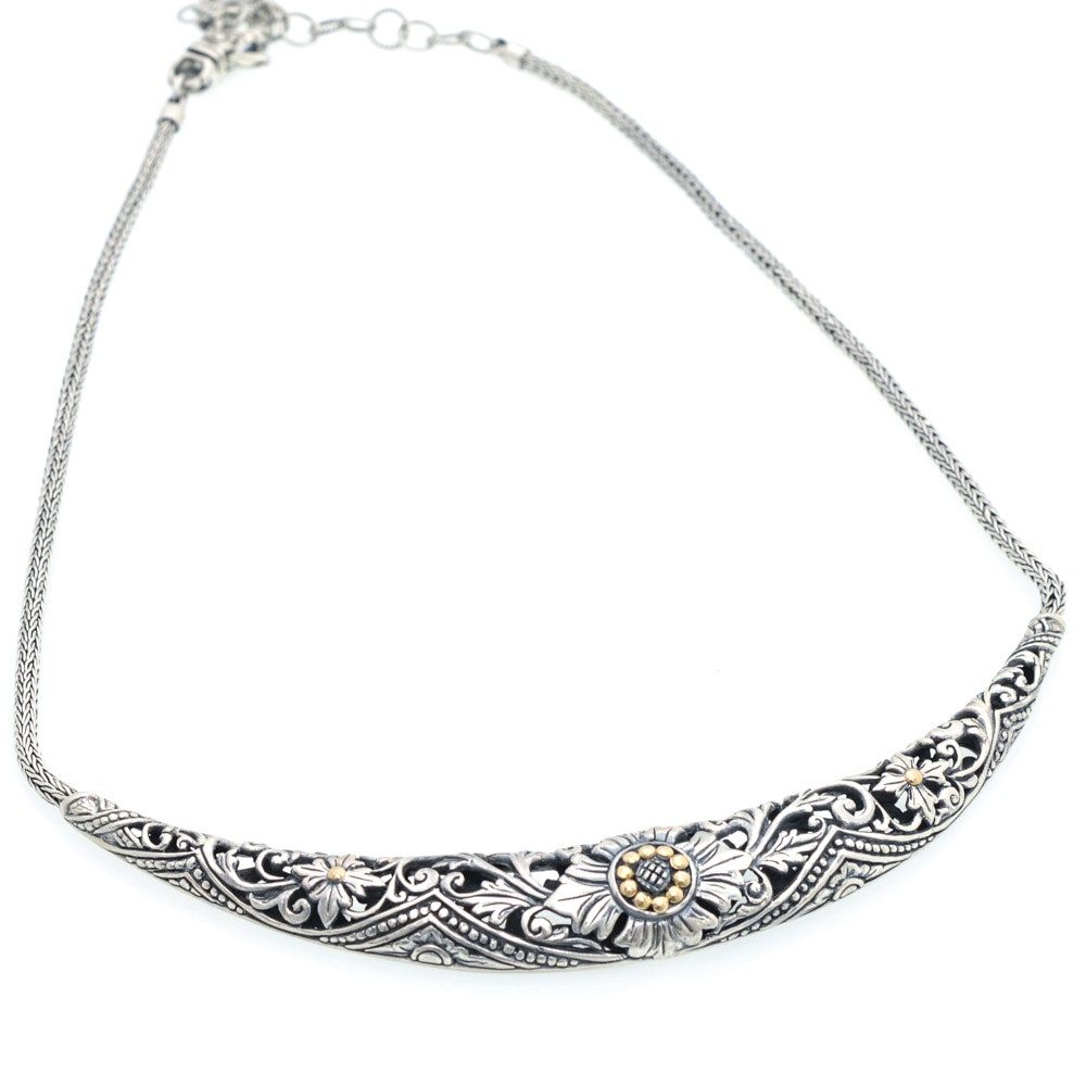 Robert Manse Sterling Silver and 18K Yellow Gold Necklace
