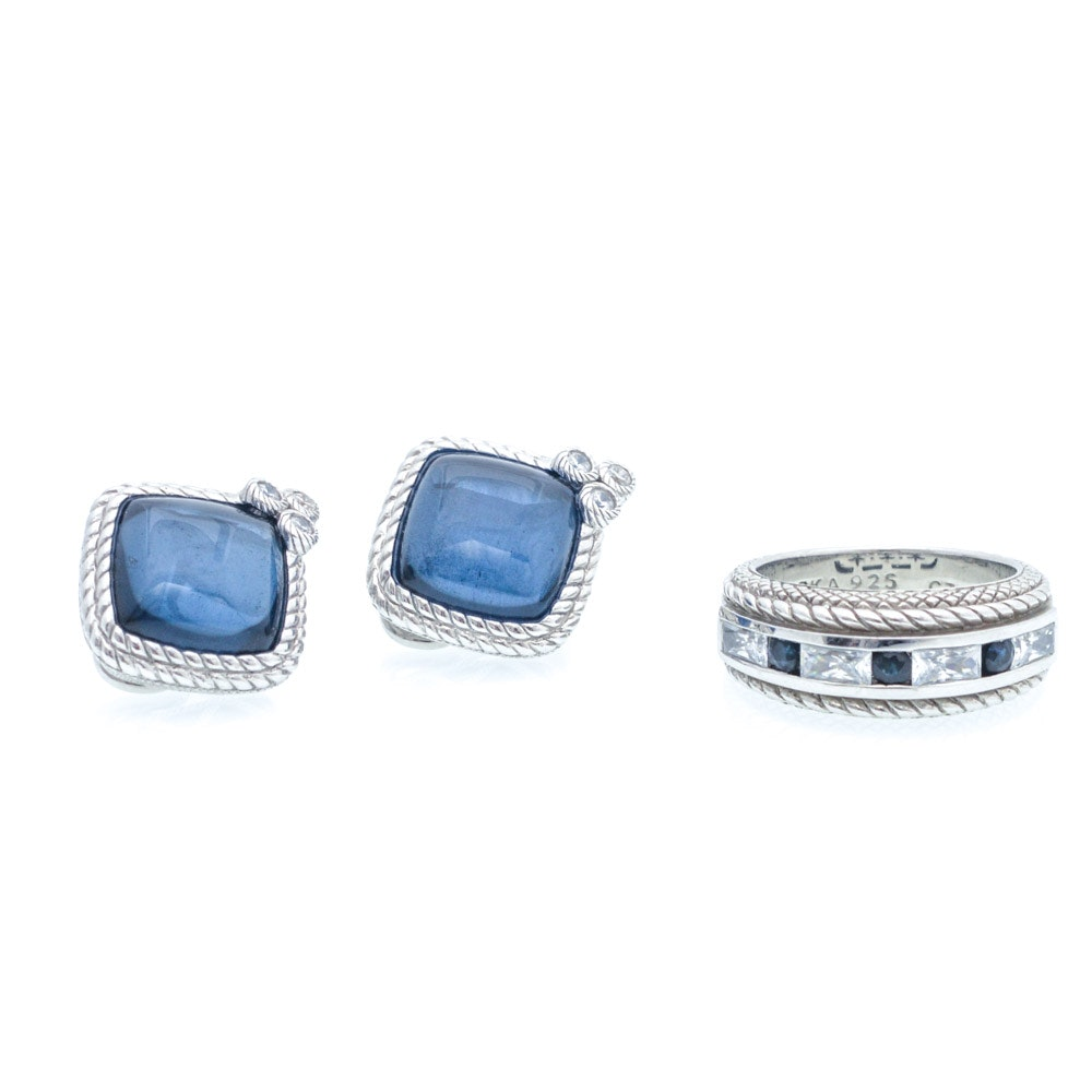Judith Ripka Sterling Silver and Synthetic Sapphire Clip Earrings and Ring