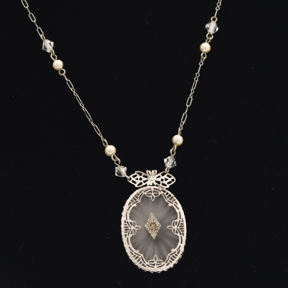 Art Deco Sterling Silver Camphor Glass Necklace