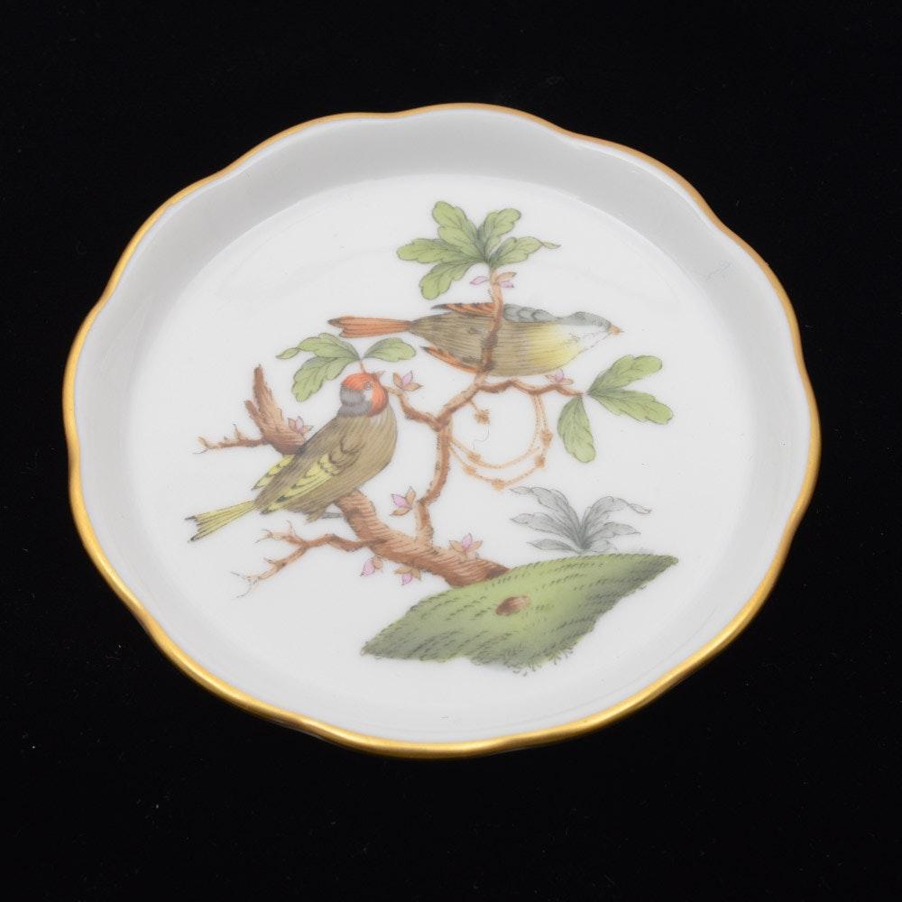 "Herend Hungary Porcelain ""Rothschild Bird"" Mini Scalloped Dish"