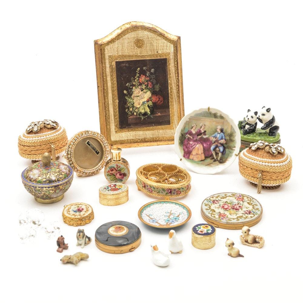 Vintage Vanity Accessories Including Limoges, Schildkraut, Micro Mosaics