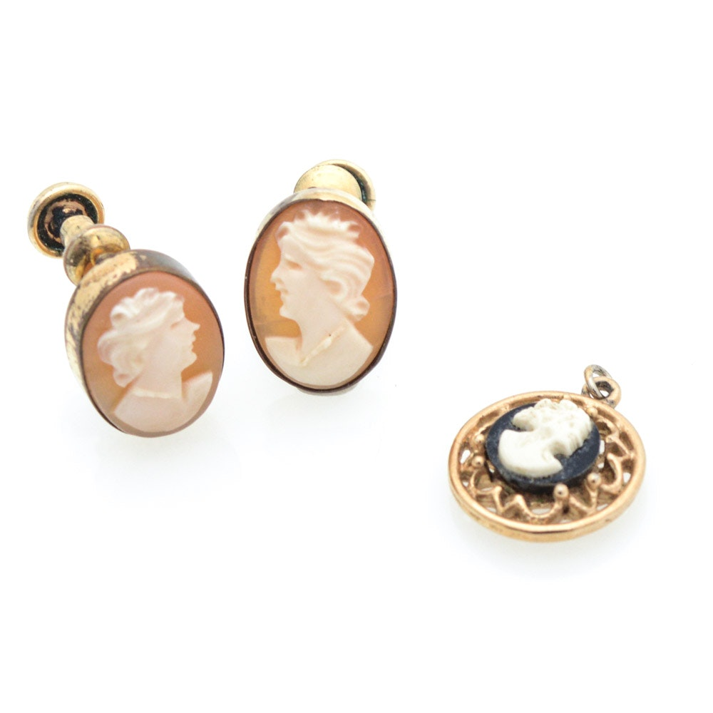 Cameo Earrings and Pendant