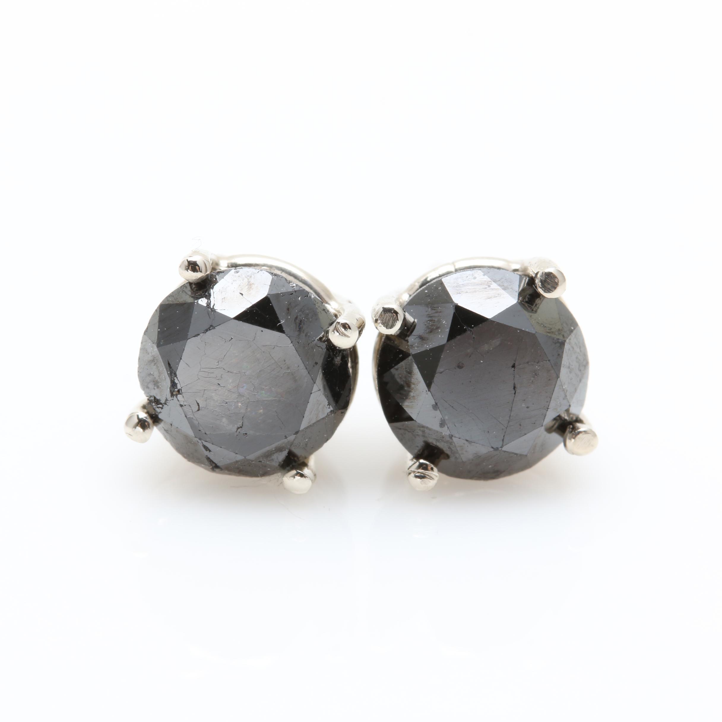 14K White Gold 3.24 CTW Black Diamond Stud Earrings