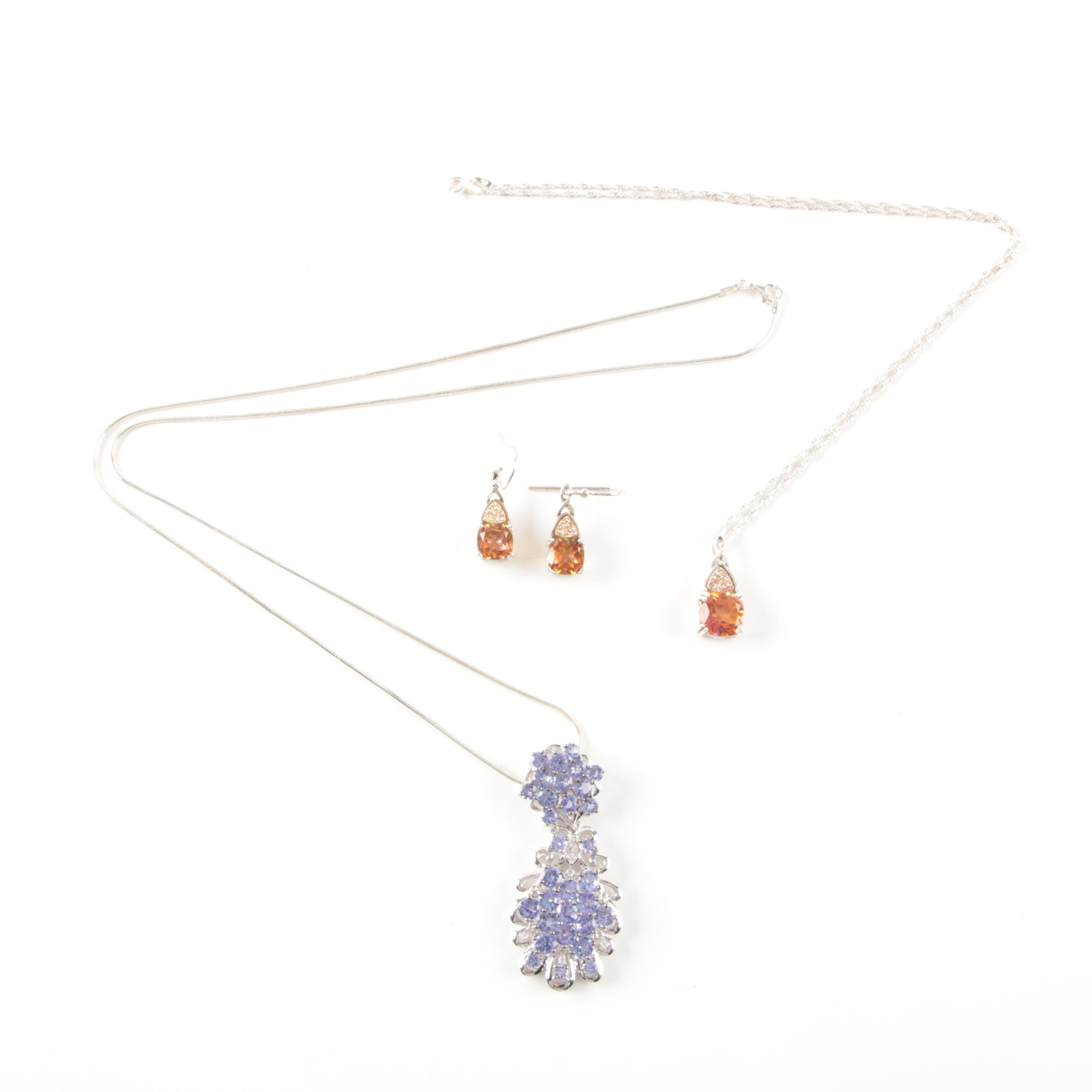 Sterling Silver and Gemstone Necklaces and Pair of Earrings