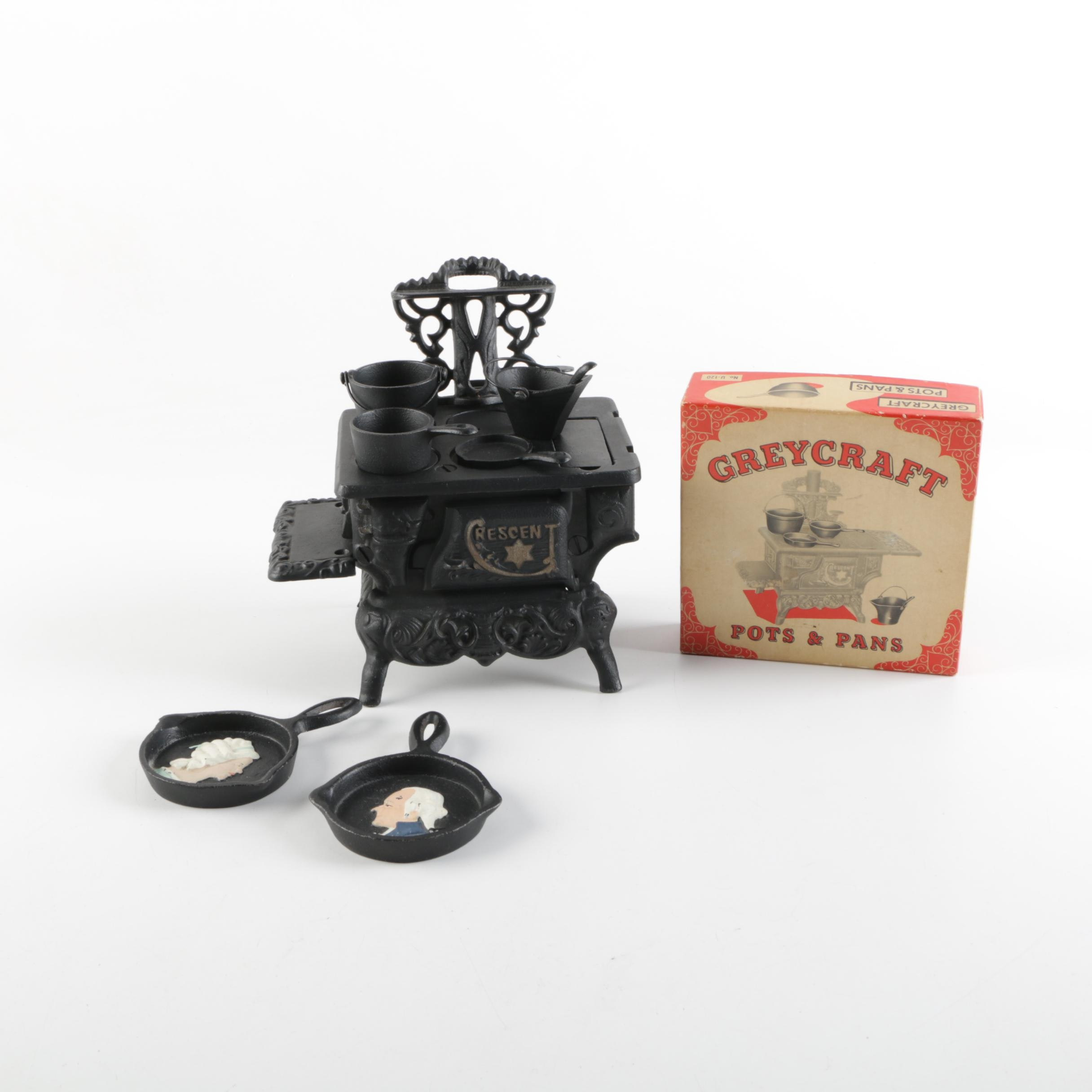 Vintage Crescent Miniature Cast Iron Stove with Greycraft and John Wright Pans