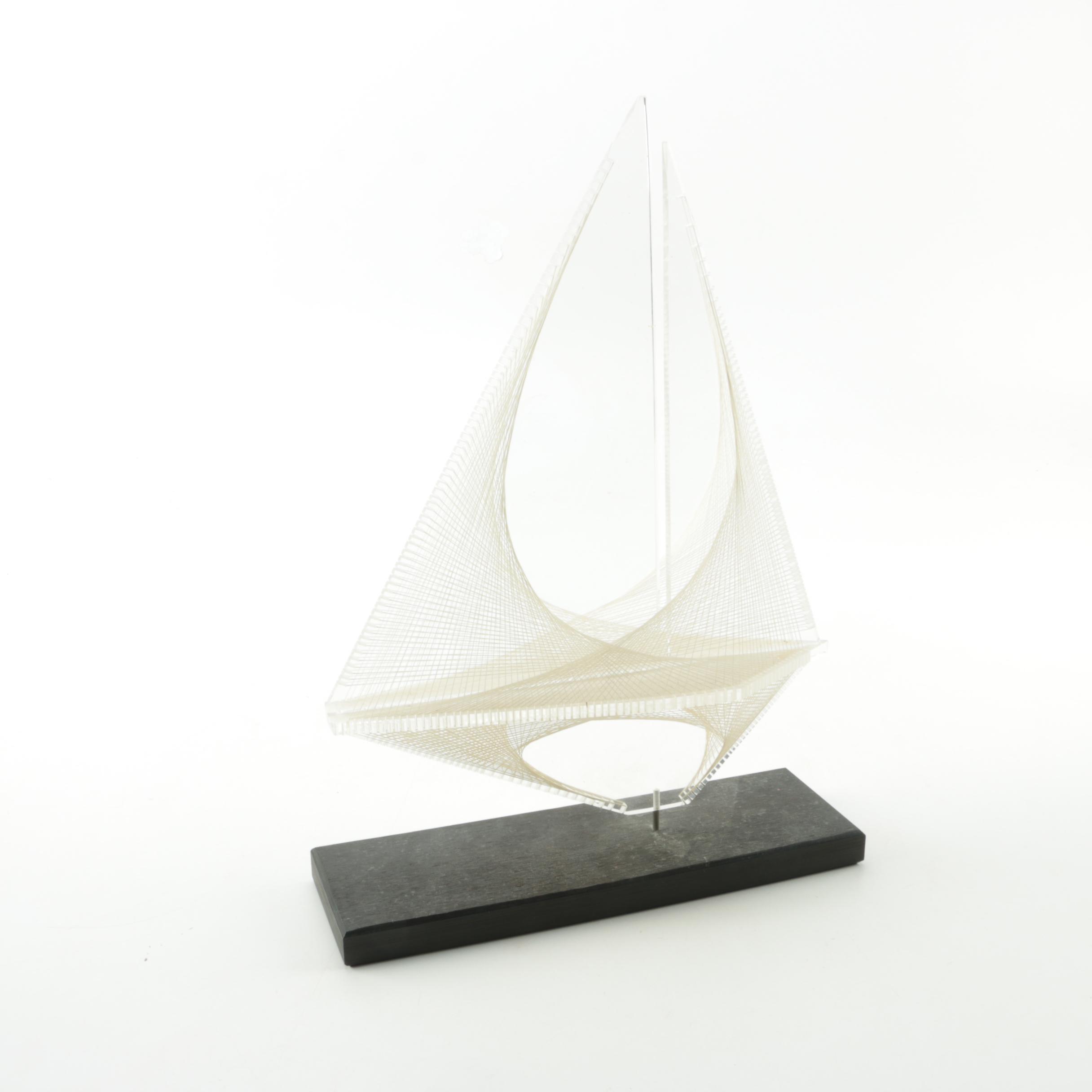 String Art Boat Sculpture