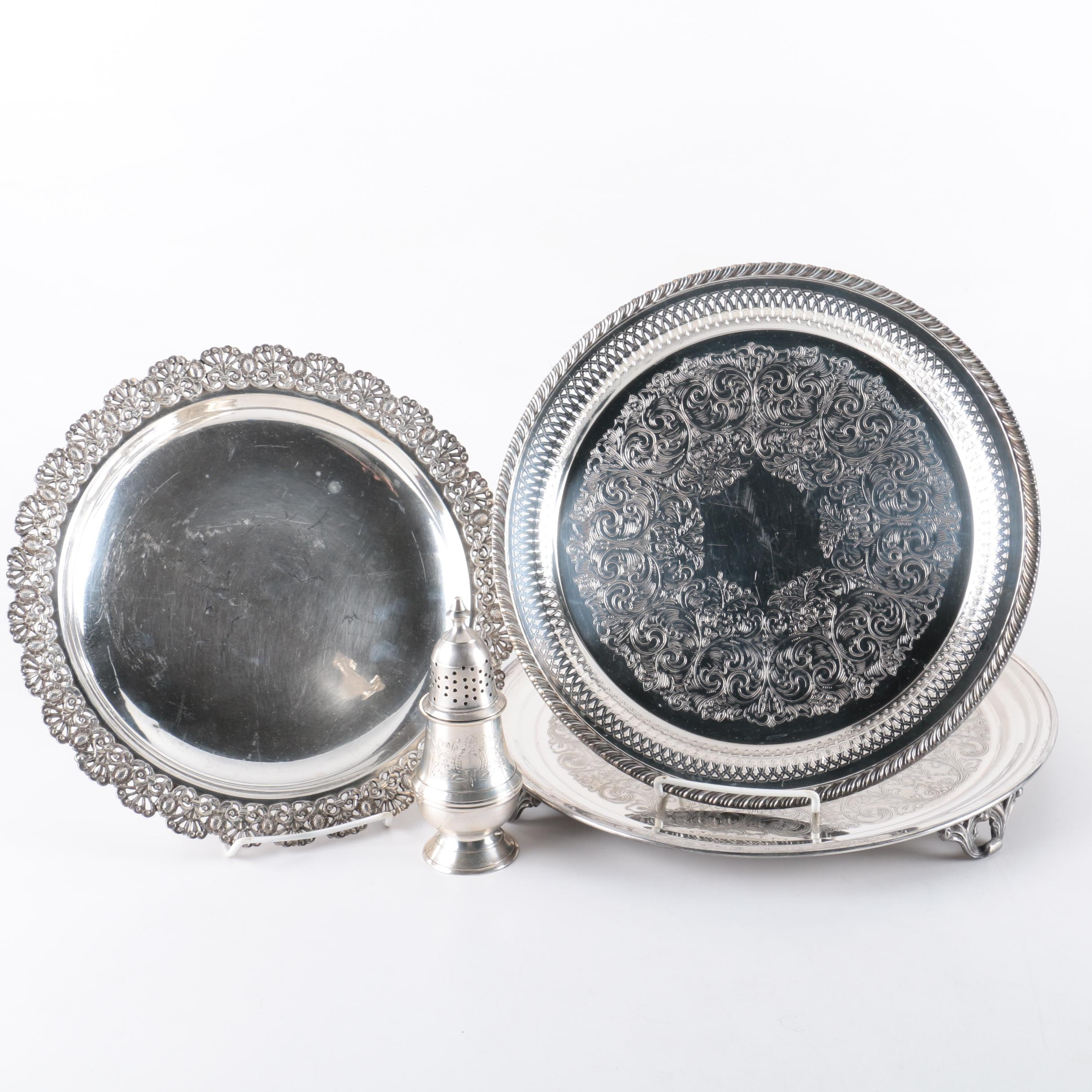 Egyptian 800 Silver Tray with Silver Plate Trays and Muffineer Sugar Shaker