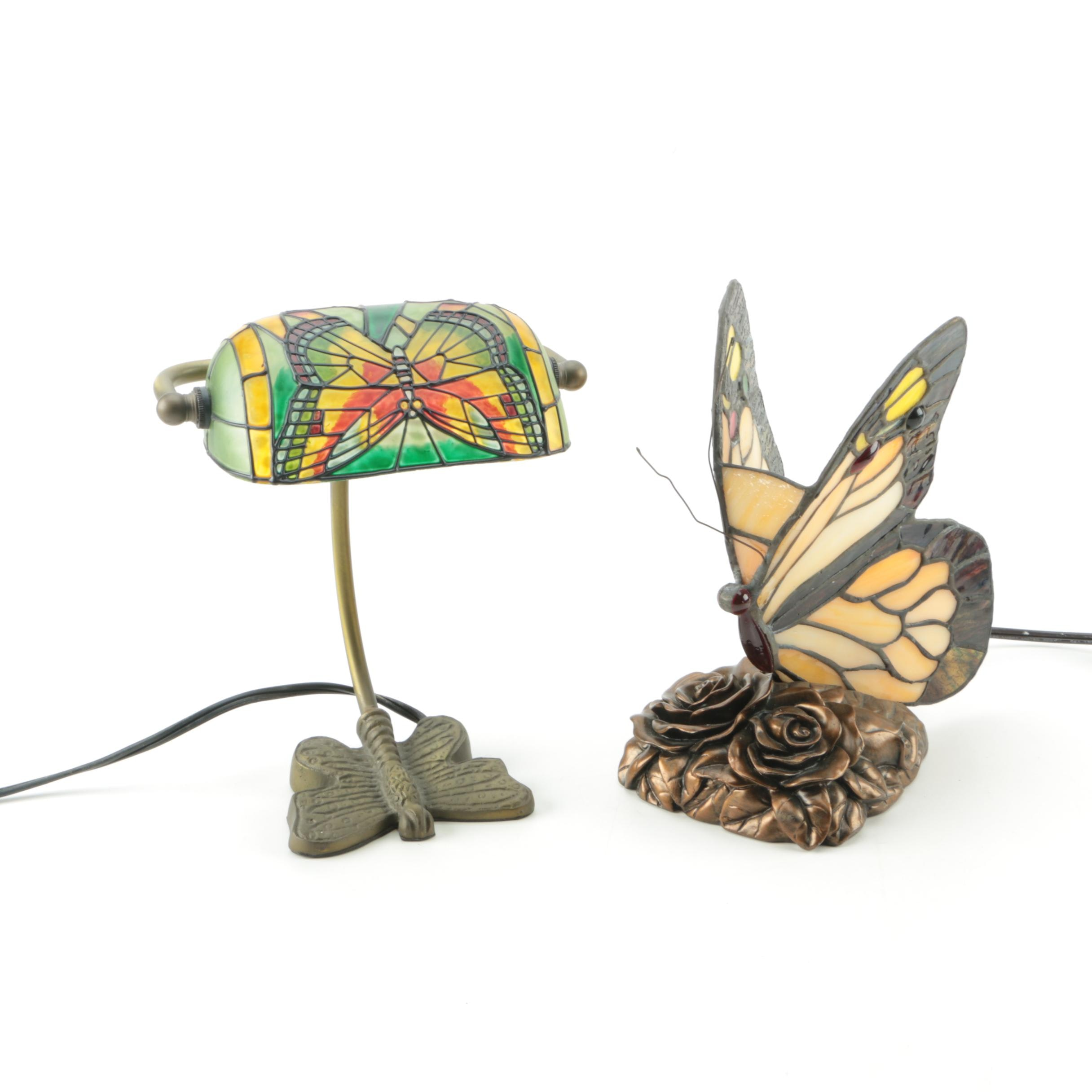 Pair of Tiffany Style Butterfly Desk Lamps