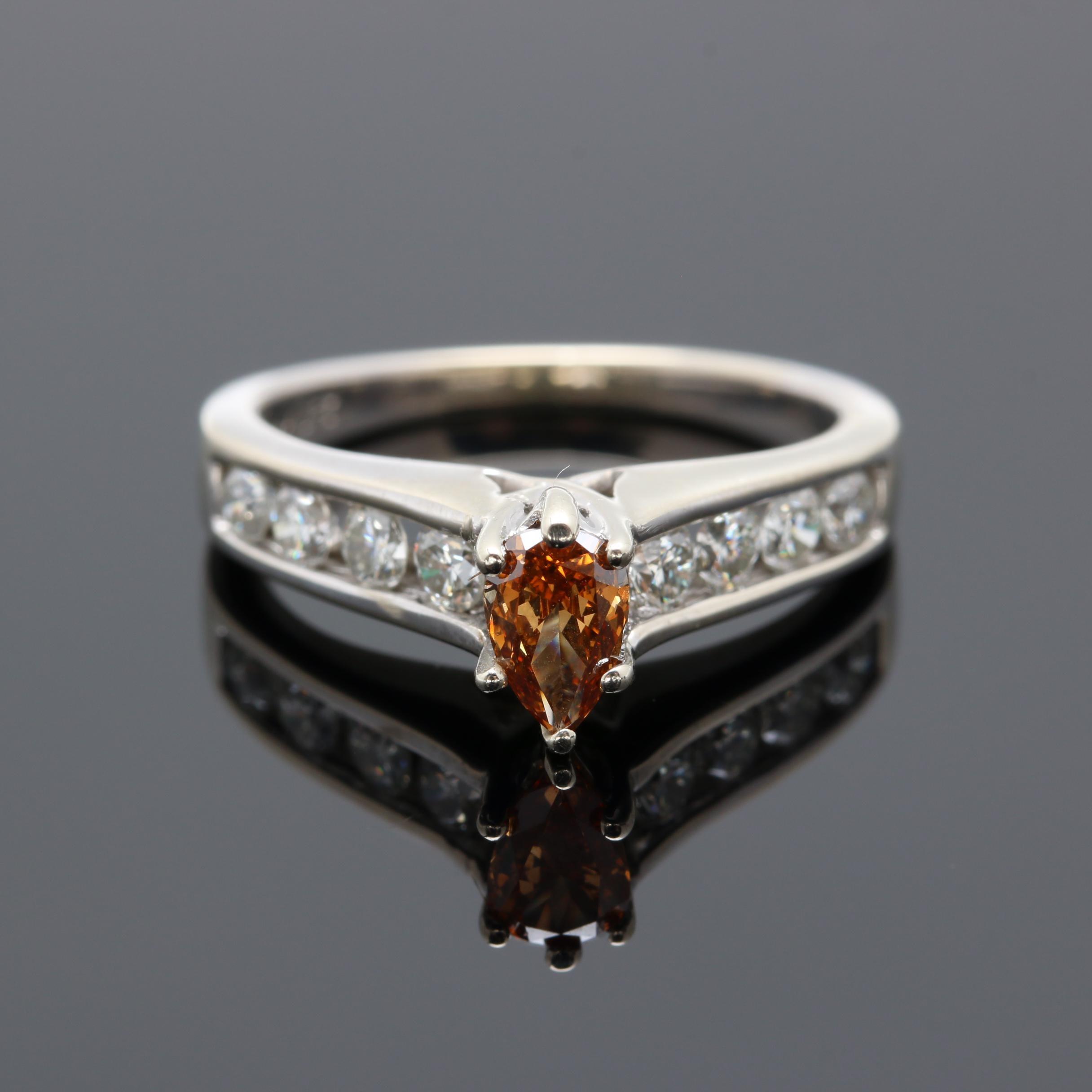 14K White Gold Orange Diamond Ring with Diamond Accents