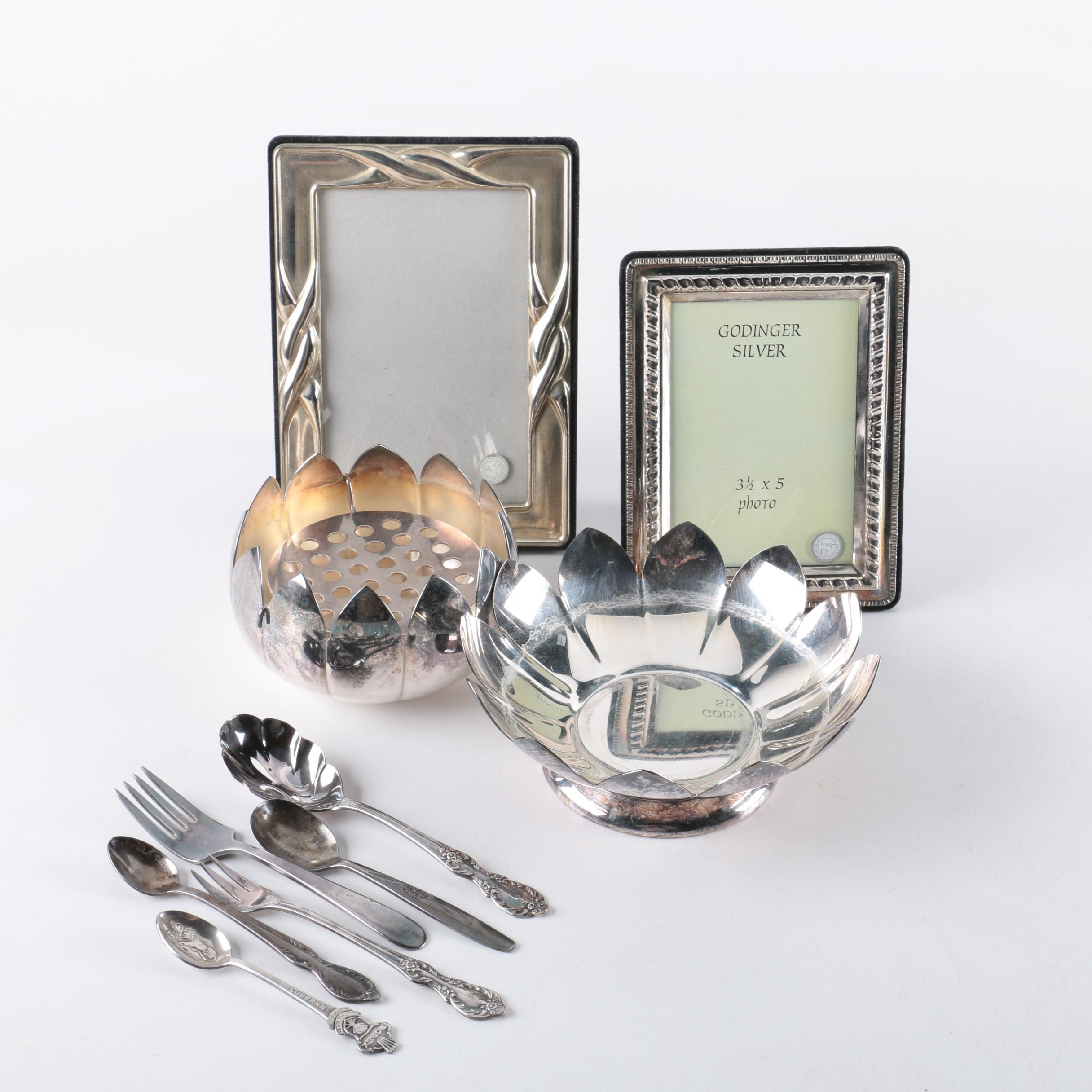 """Reed & Barton """"Water Lily"""" Flower Frog with Silver Plate Flatware and Décor"""