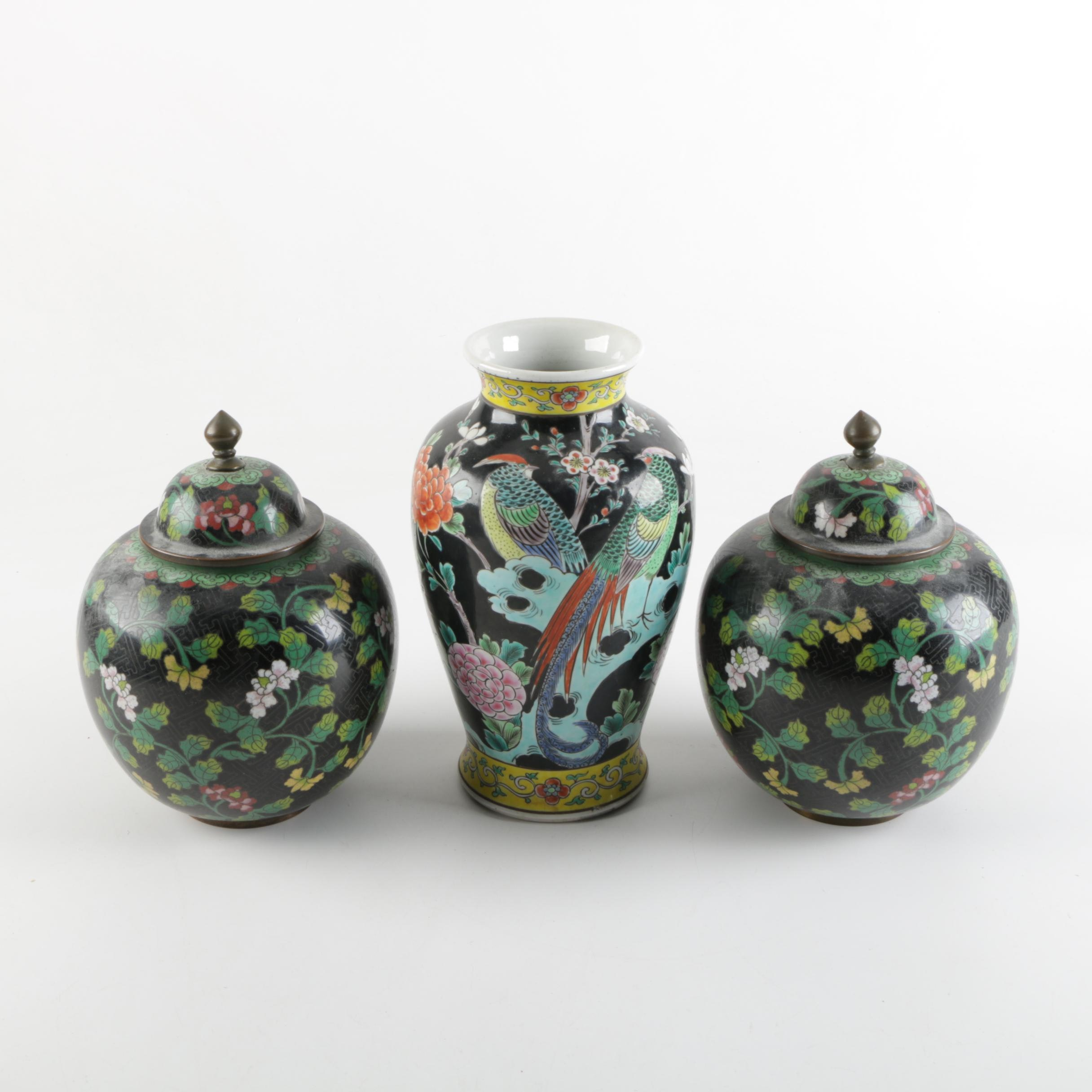 Chinese Cloisonné and Porcelain Assembled Garniture