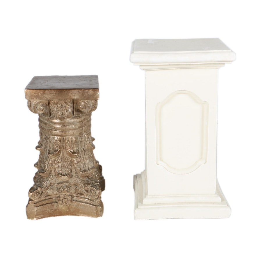 white pedestals for cast plant of and column pedestal lots faces plaster flower stand uses cherub or great art arrangement
