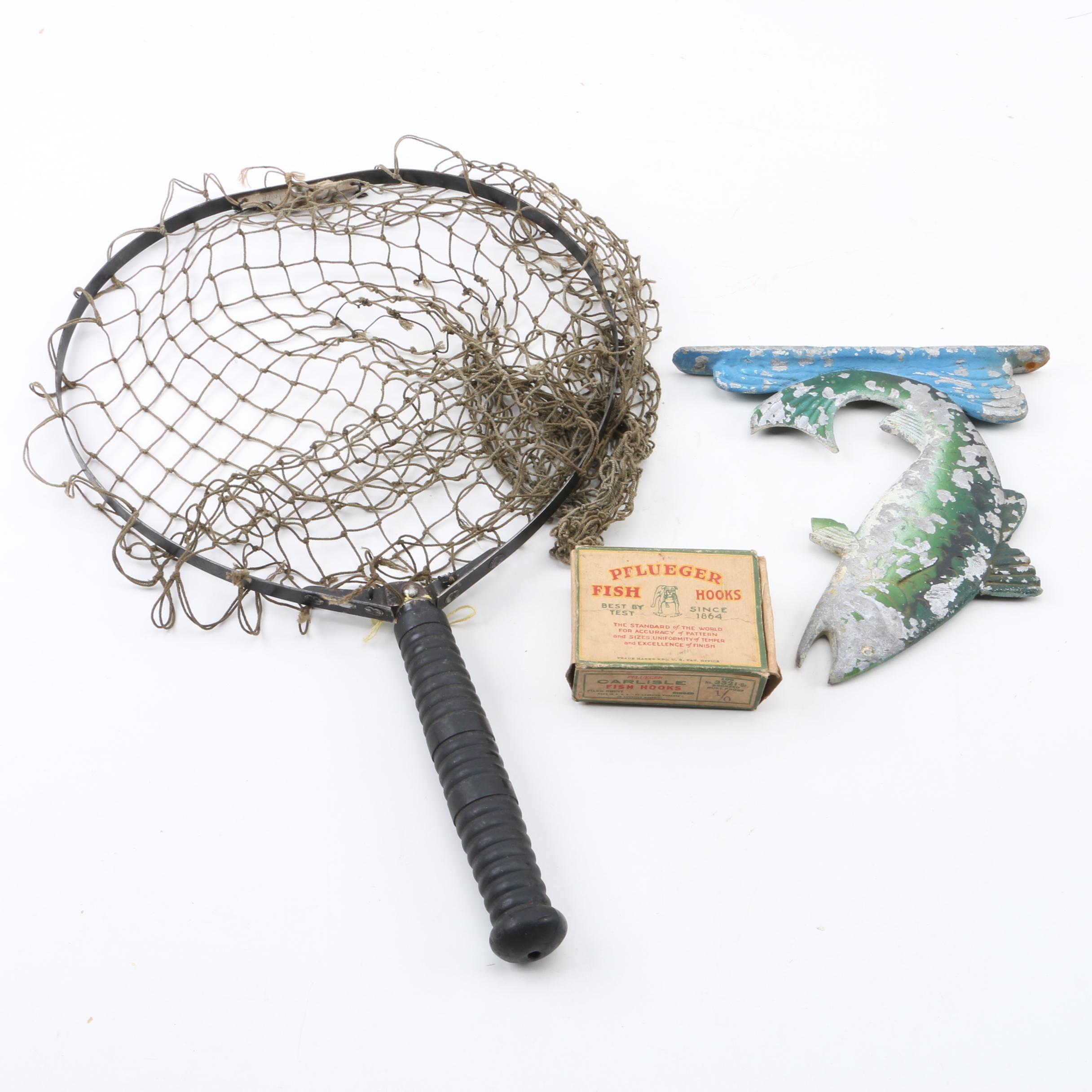 Fishing Hand Net, Hooks and Fish Decor