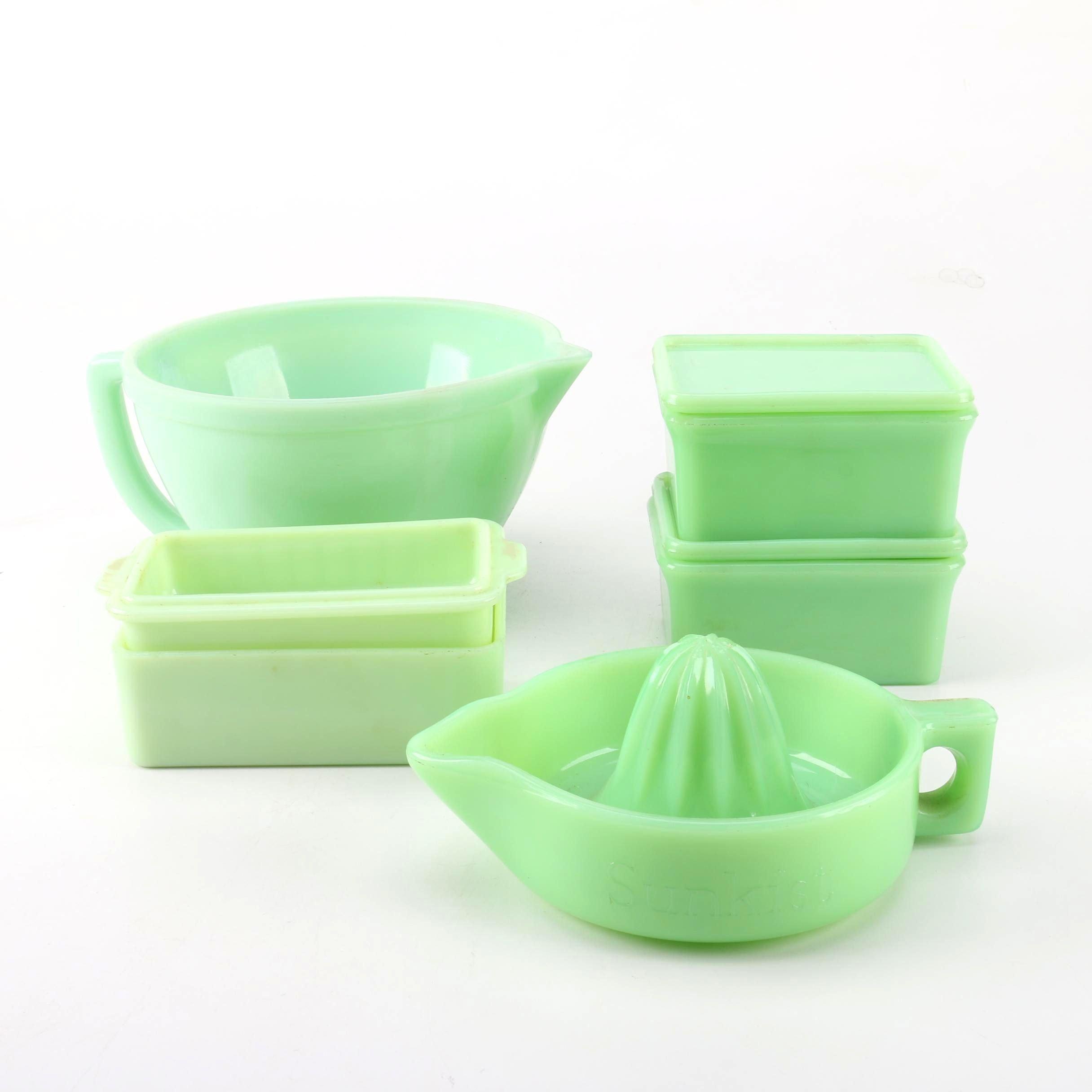 McKee Jadeite Lidded Refrigerator Bowls with Sunkist Juicer and More