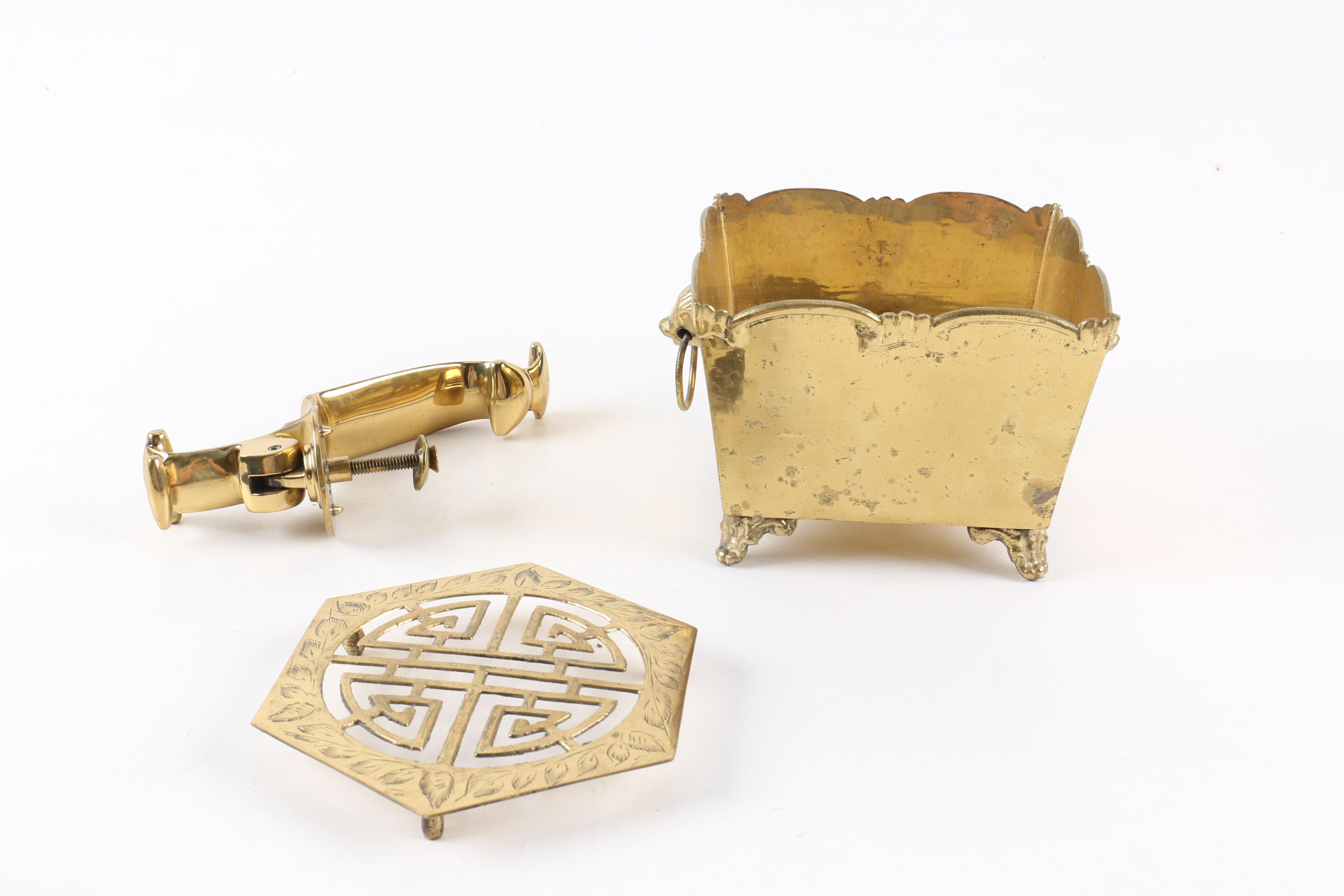 Brass Trivet, Coal Box and Kitchen Hook