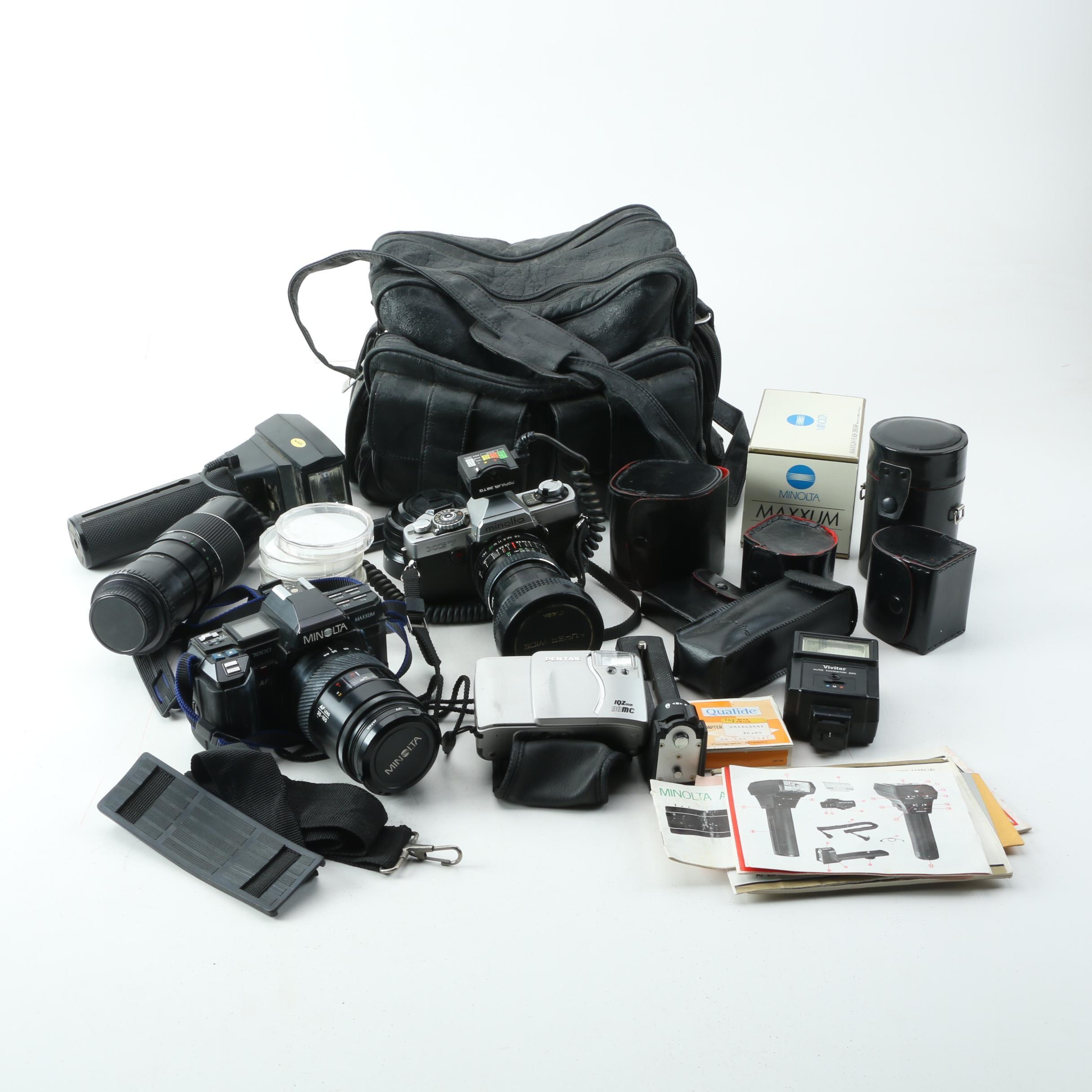 Vintage Minolta 35mm SLR Cameras with Accessories