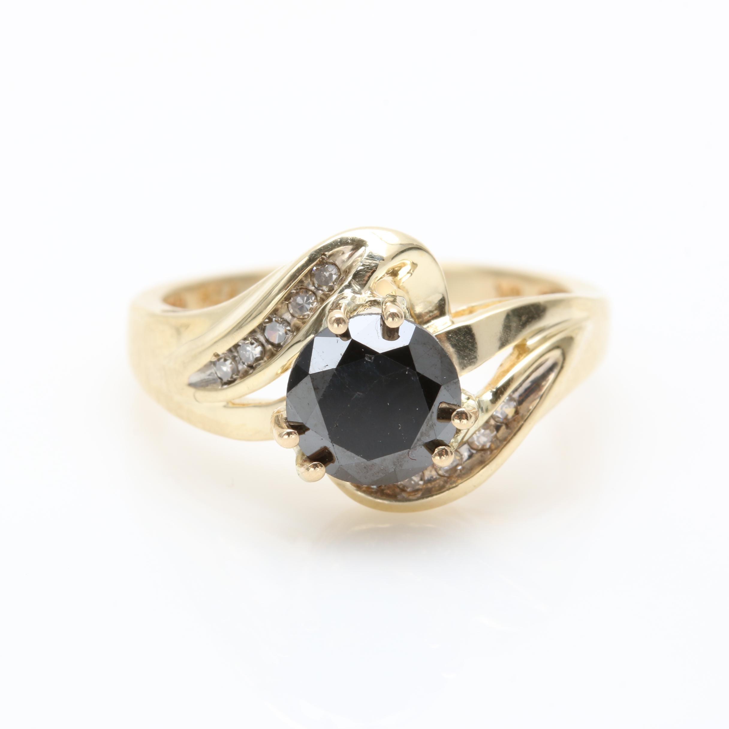 10K Yellow Gold 1.35 CTW Black Diamond and Diamond Ring