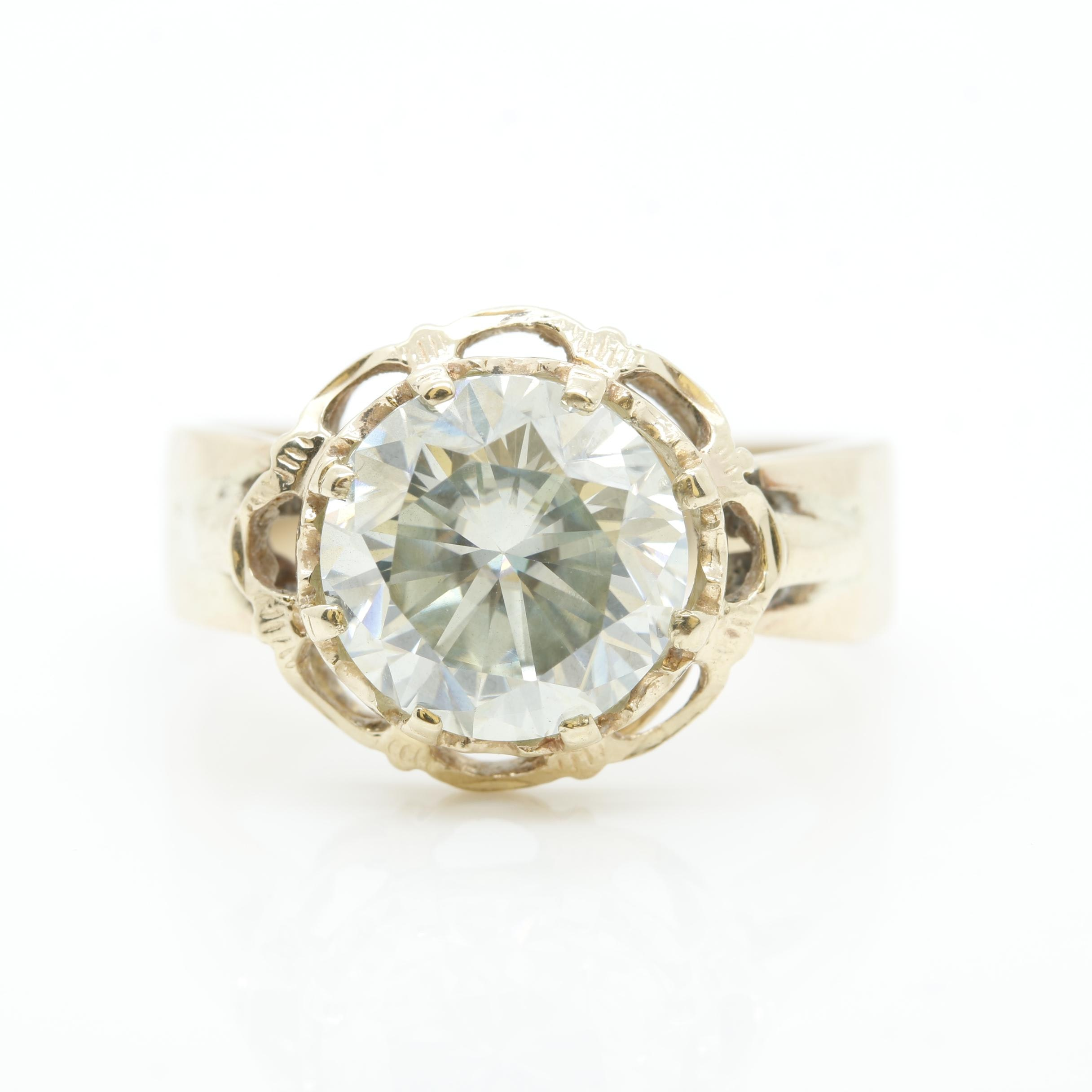 14K Yellow Gold Synthetic Moissanite Ring
